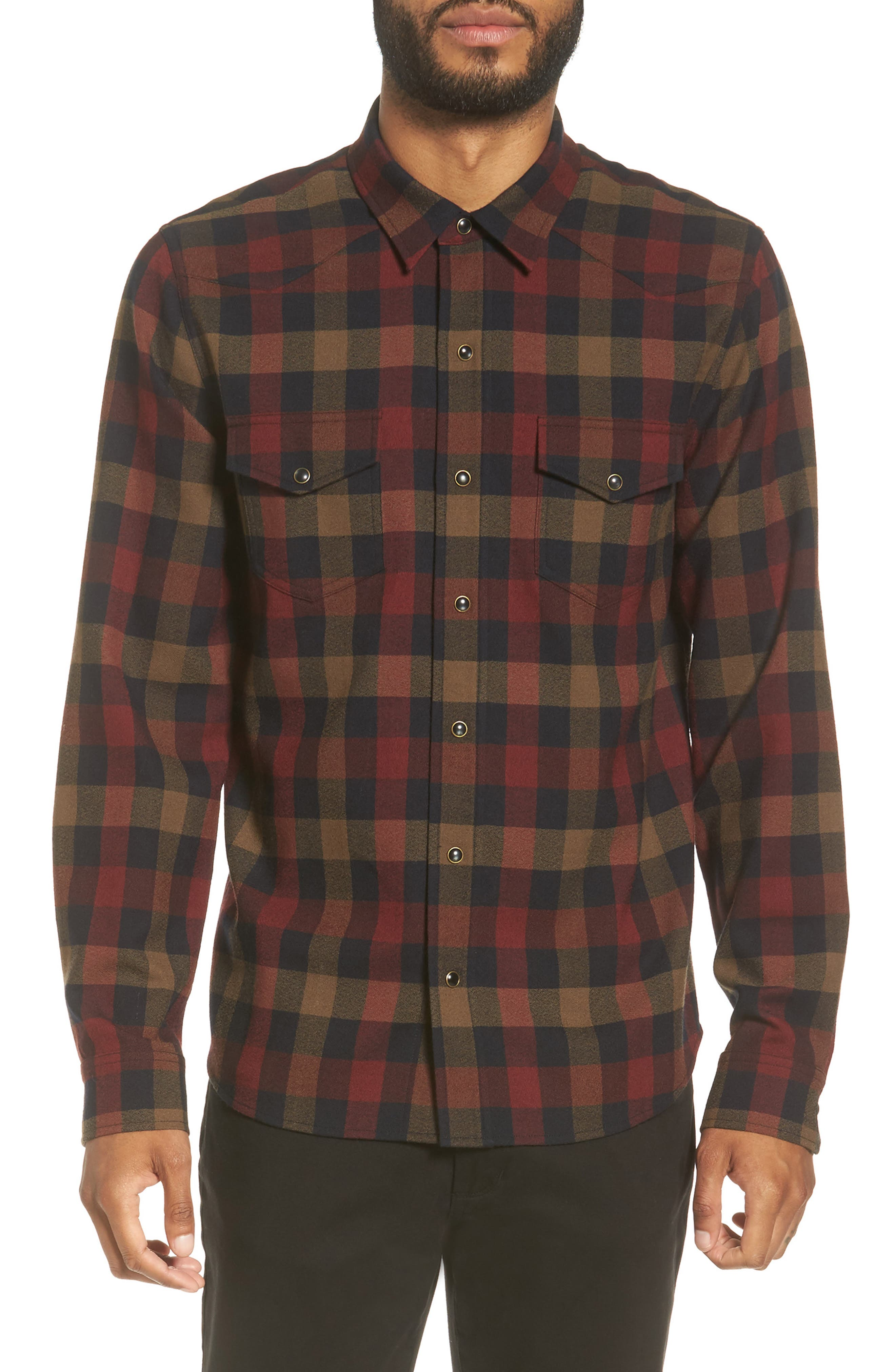 Vince Regular Fit Buffalo Check Sport Shirt