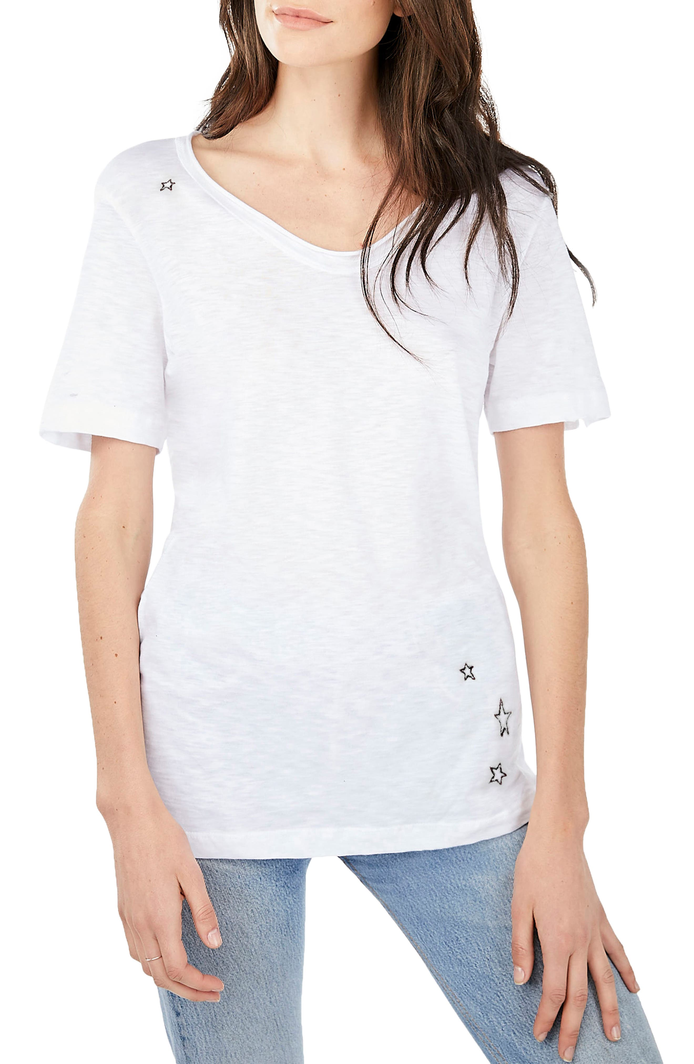 Embroidered U-Neck Tee,                             Main thumbnail 1, color,                             White