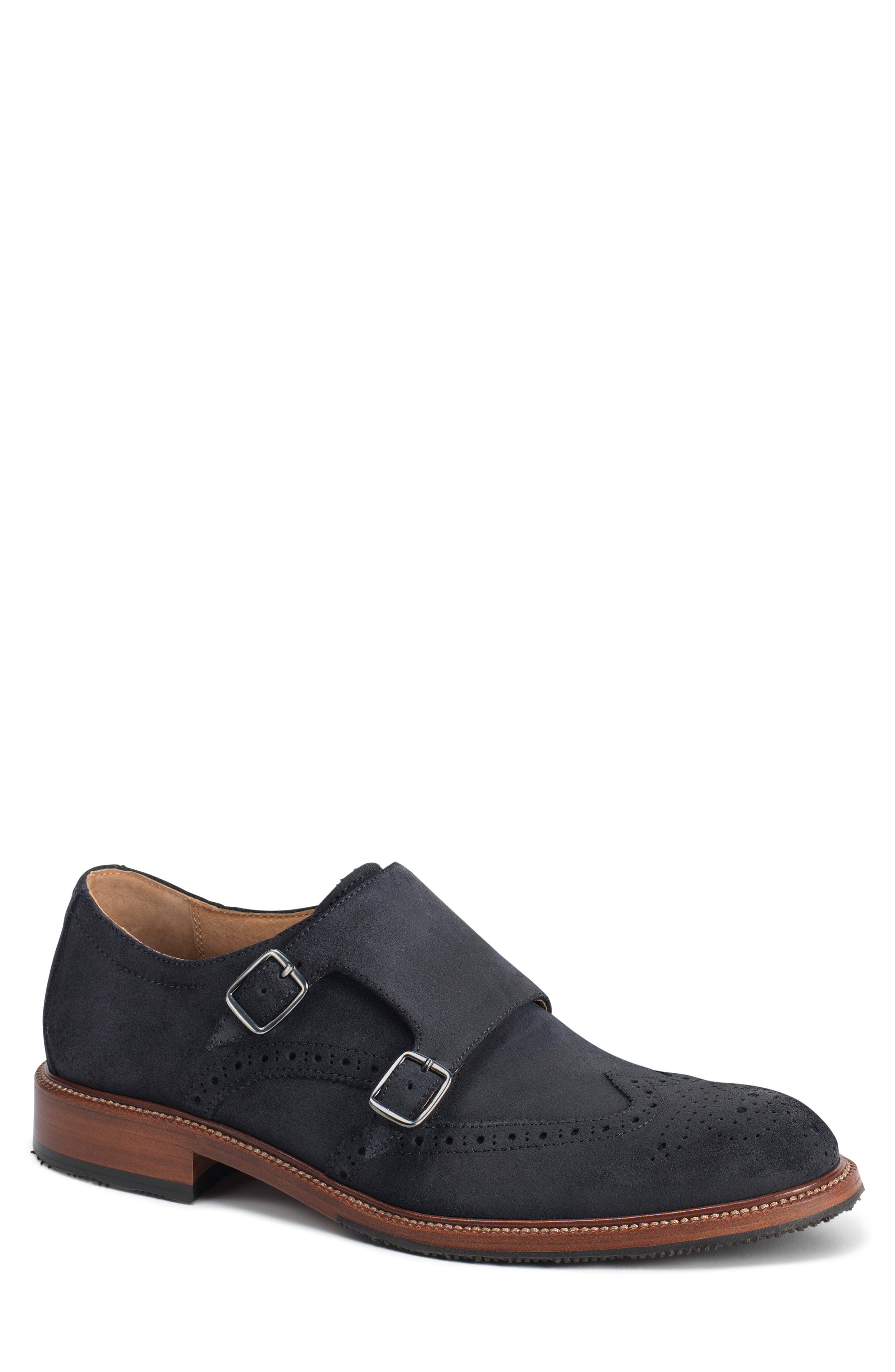 Leland Double Monk Strap Shoe,                         Main,                         color, Navy Waxed Suede