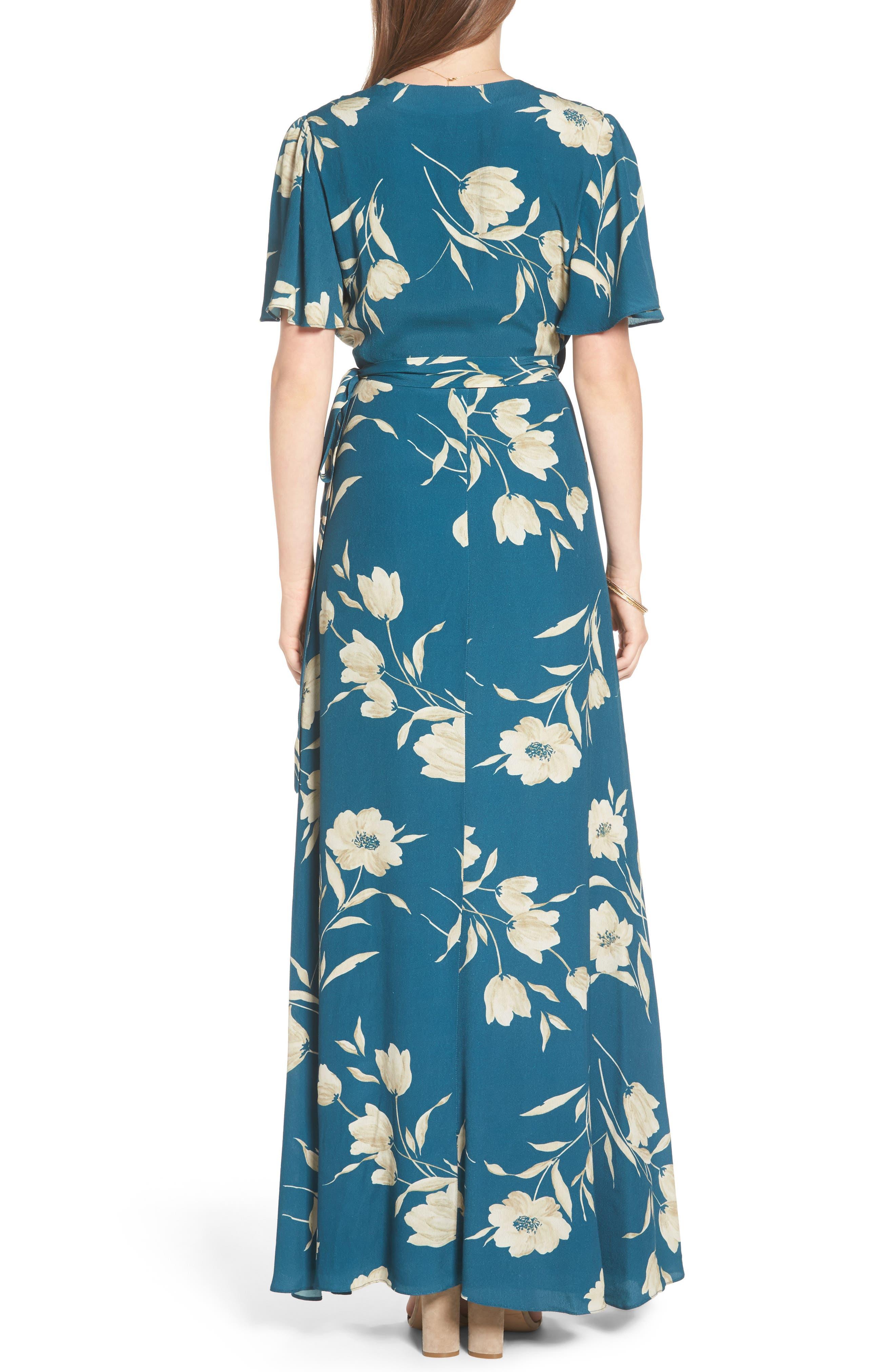 Plaza Wrap Maxi Dress,                             Alternate thumbnail 2, color,                             Sage Floral