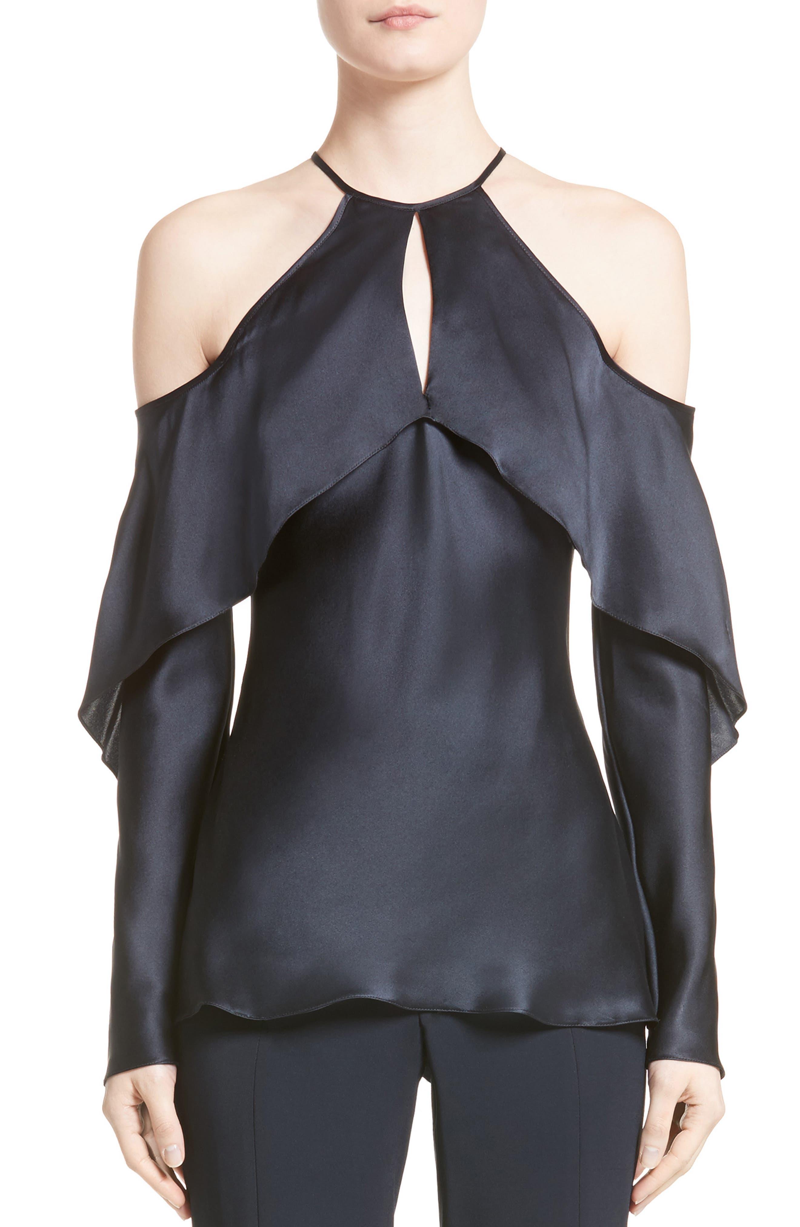 Cushnie et Ochs Florence Silk Charmeuse Cold Shoulder Top