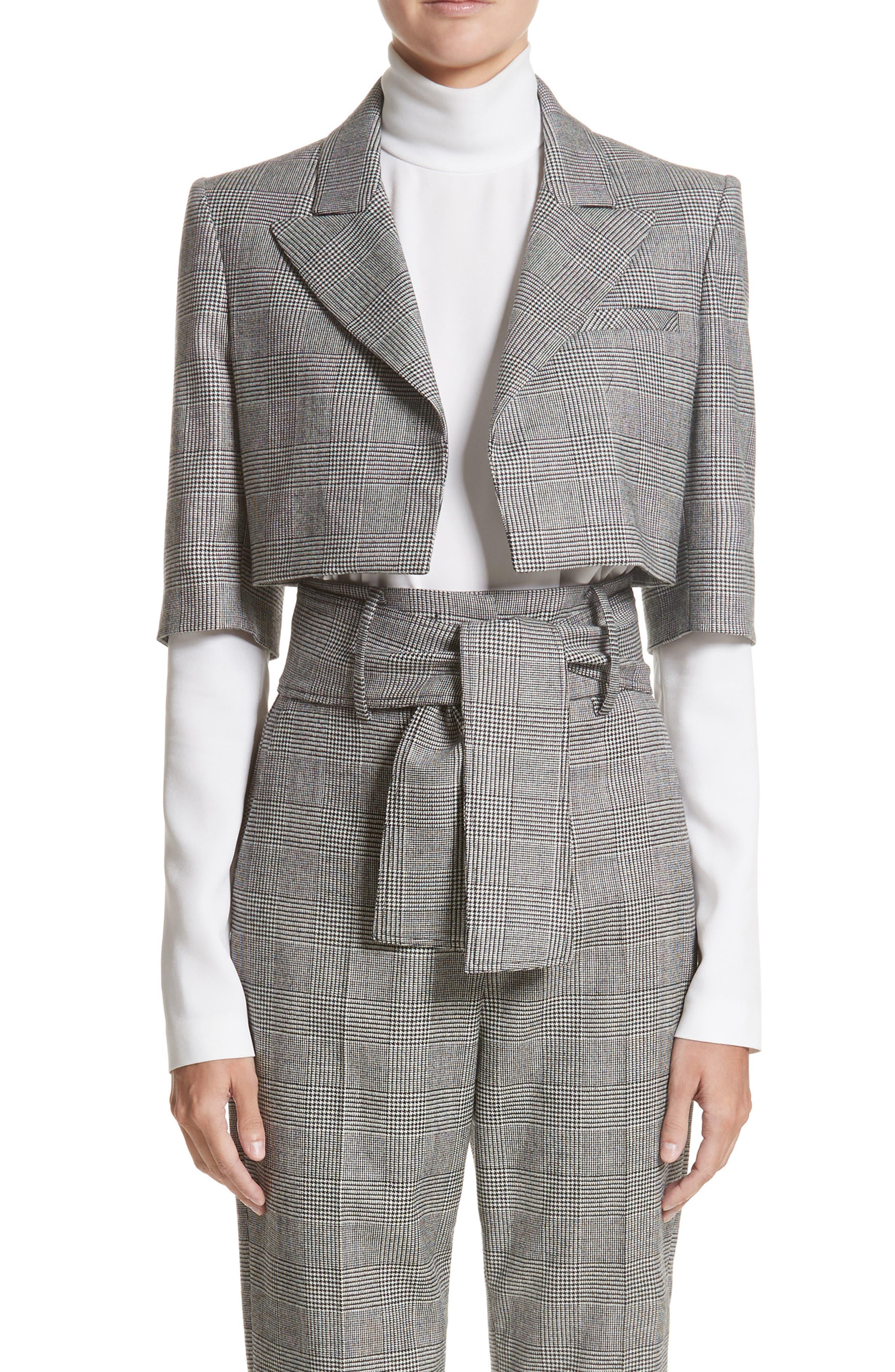 Glen Plaid Crop Jacket,                             Main thumbnail 1, color,                             Black/ White