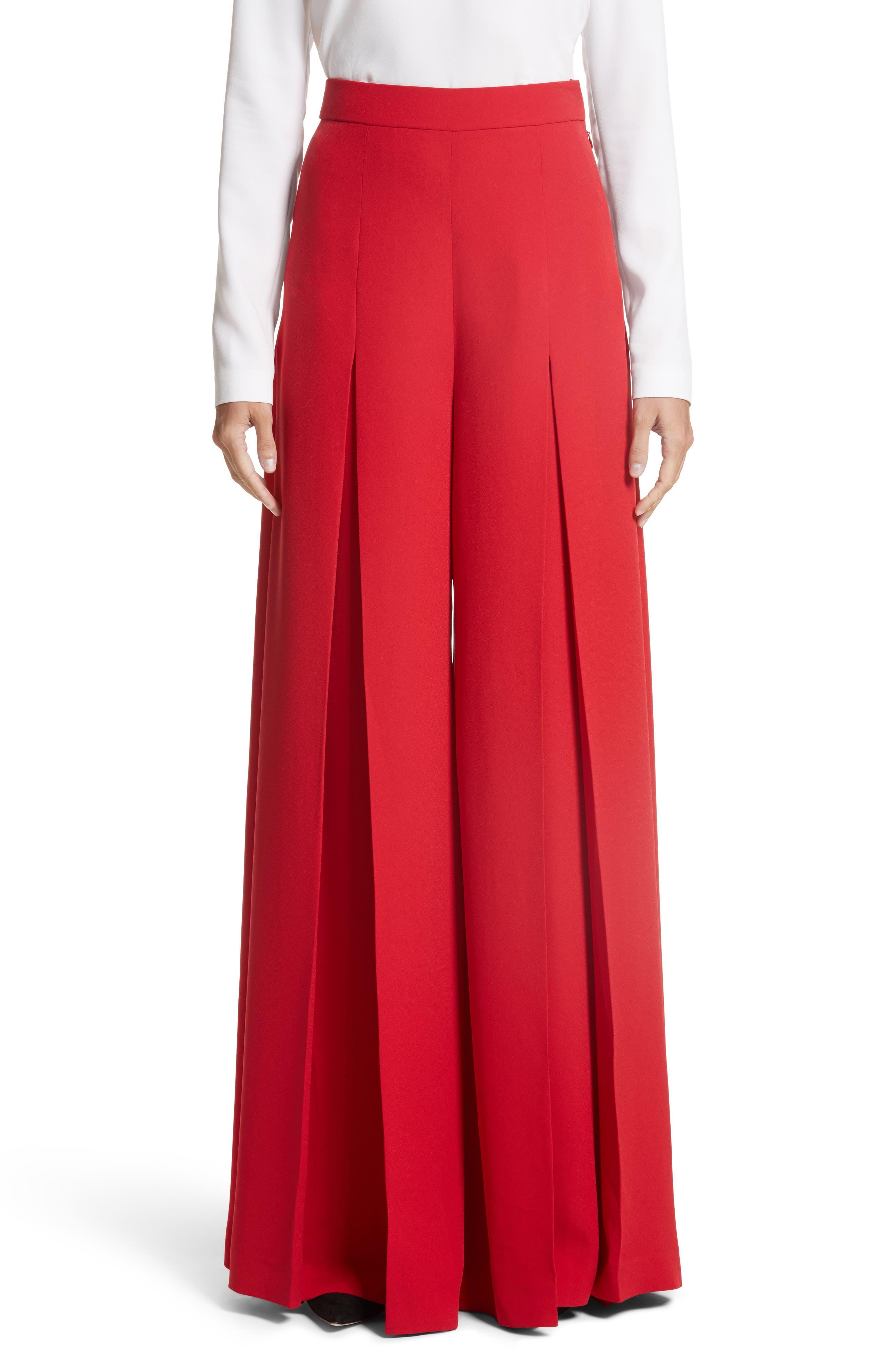 Crepe Cady Wide Leg Pants,                         Main,                         color, Red