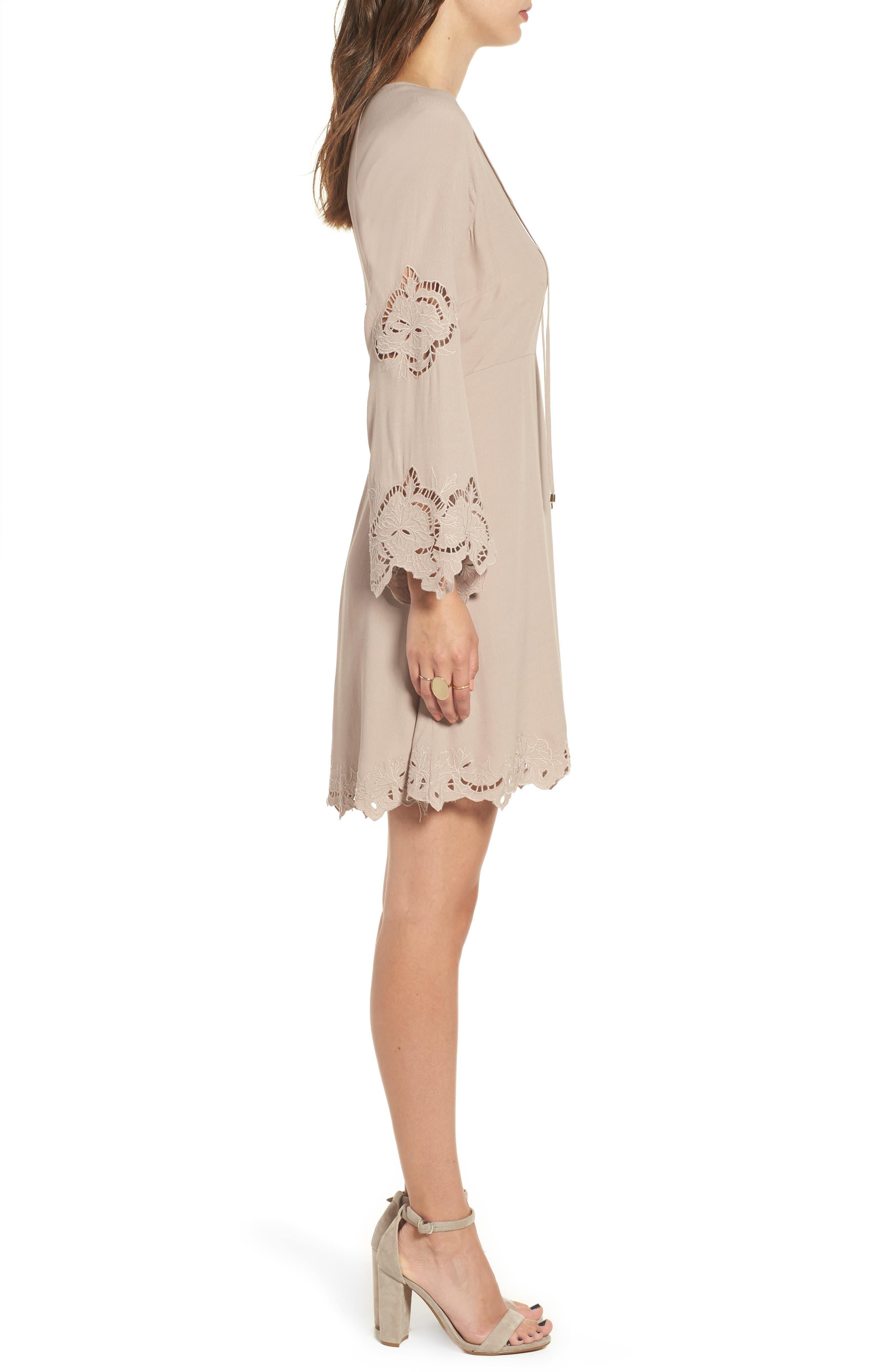 Fern Fit & Flare Dress,                             Alternate thumbnail 2, color,                             Faded Mauve