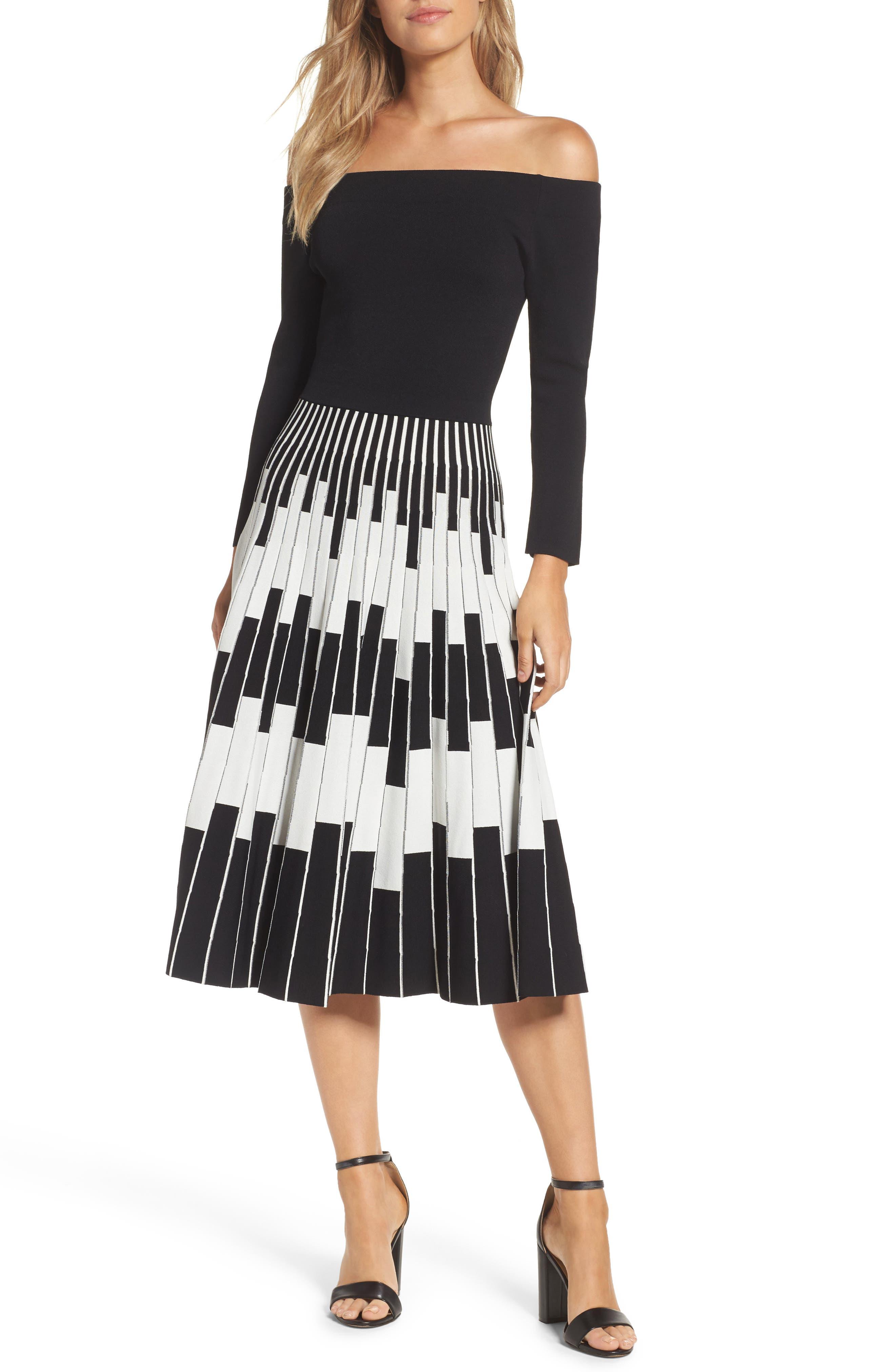 Off the Shoulder Midi Dress,                             Main thumbnail 1, color,                             Black/ Ivory