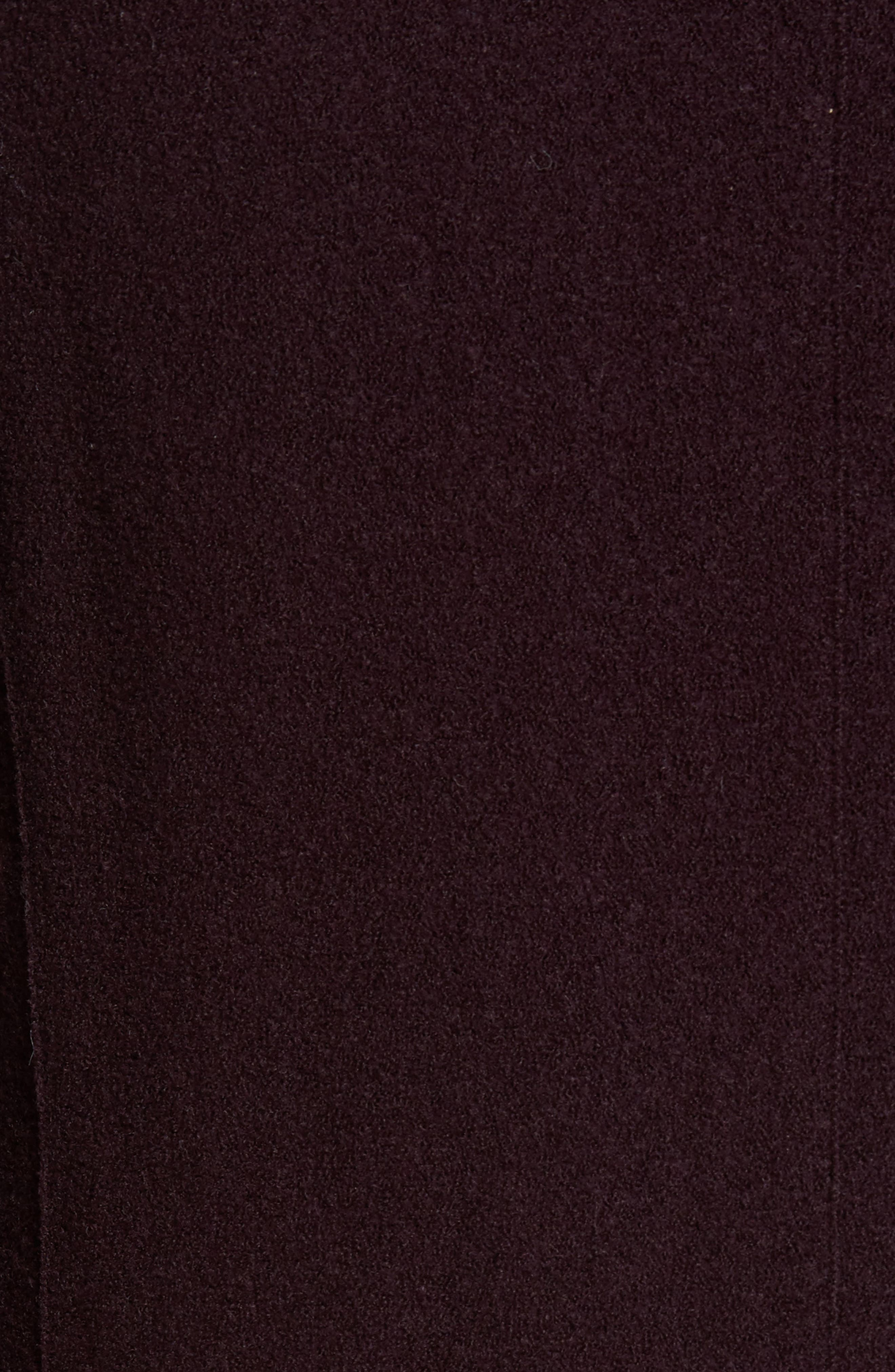 Boiled Wool Double Breasted Topcoat,                             Alternate thumbnail 5, color,                             Burgundy