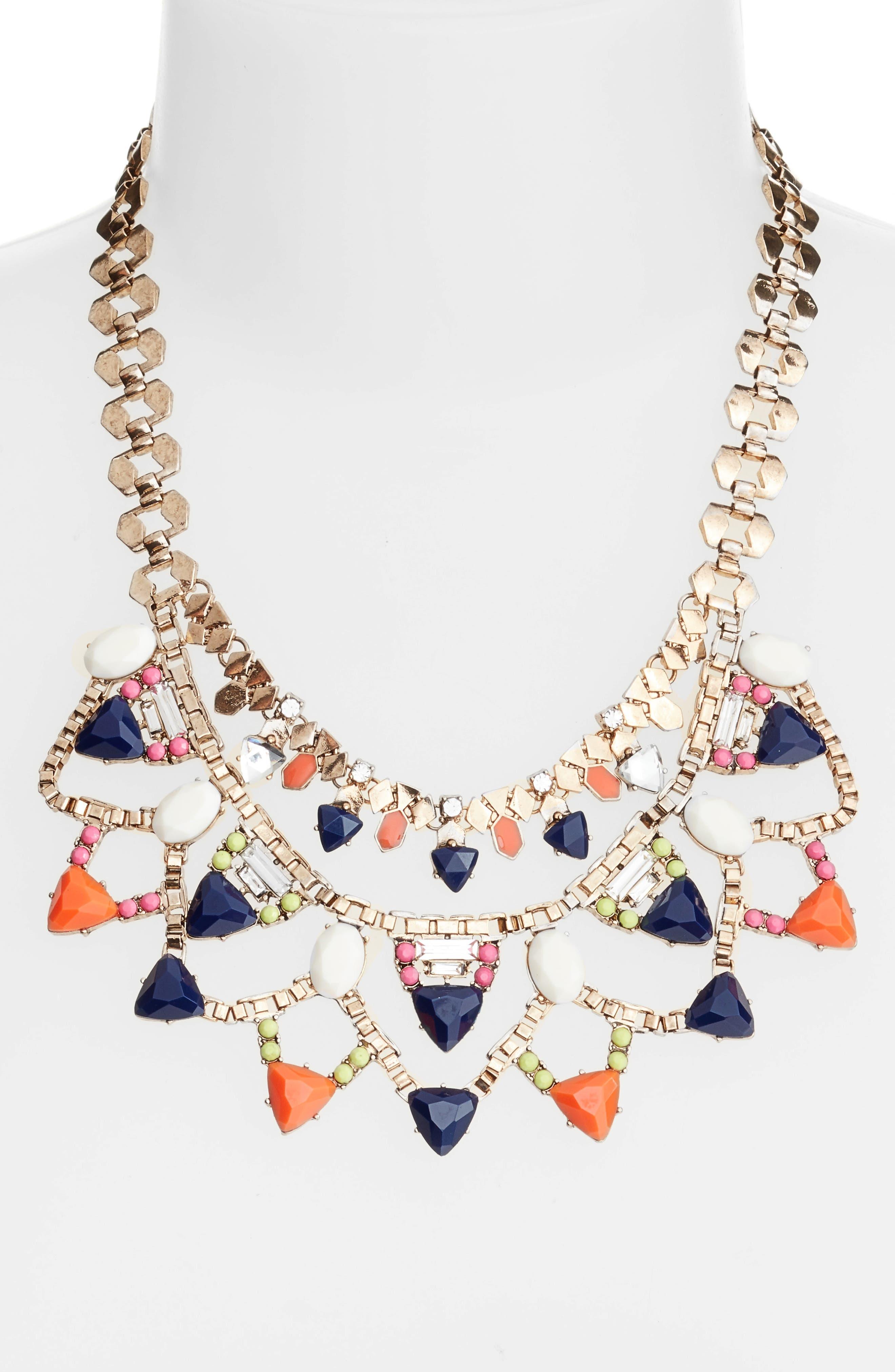 Layered Stone Bib Necklace,                             Alternate thumbnail 2, color,                             Orange Blue