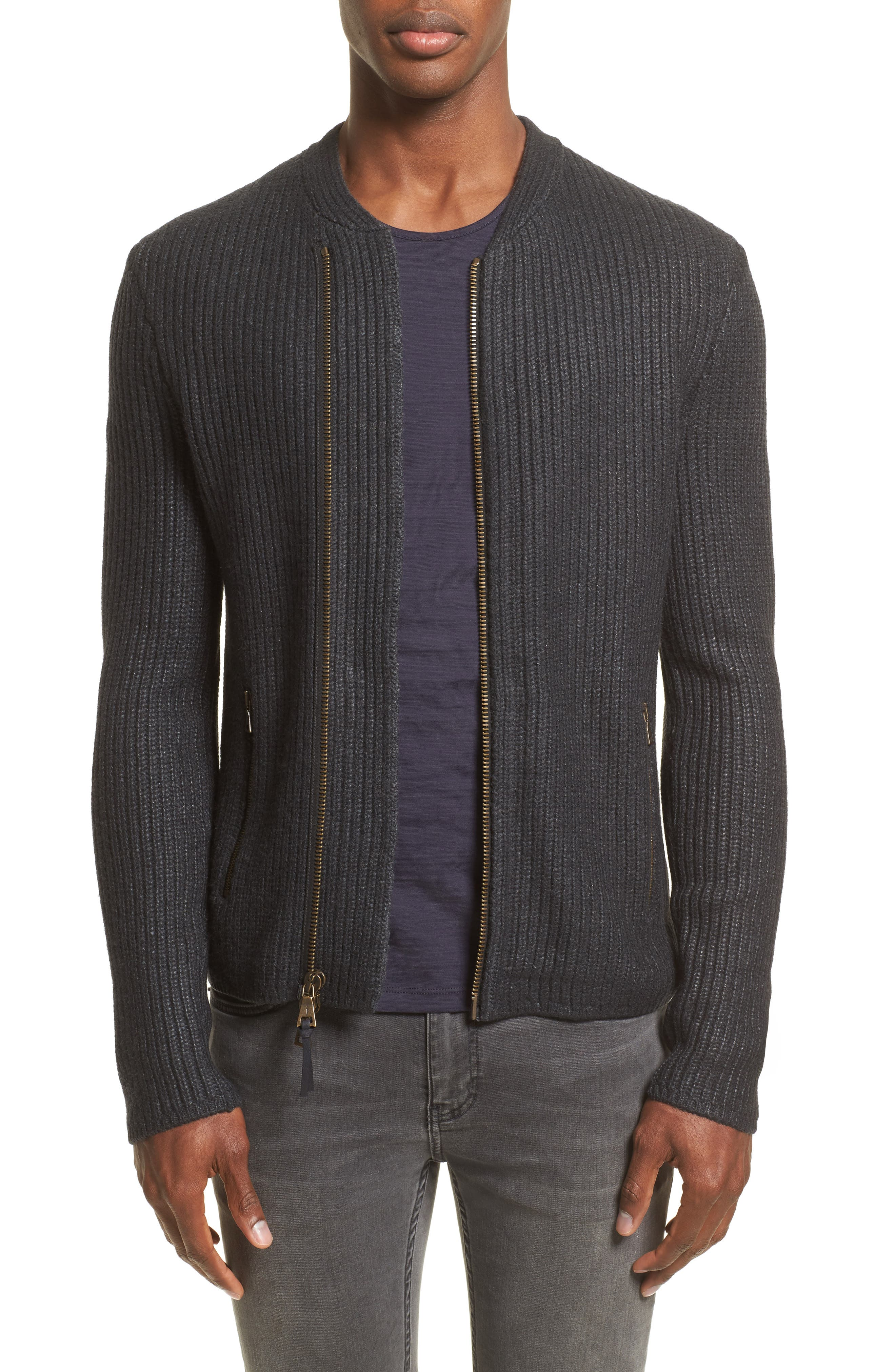 John Varvatos Collection Asymmetrical Zip Sweater