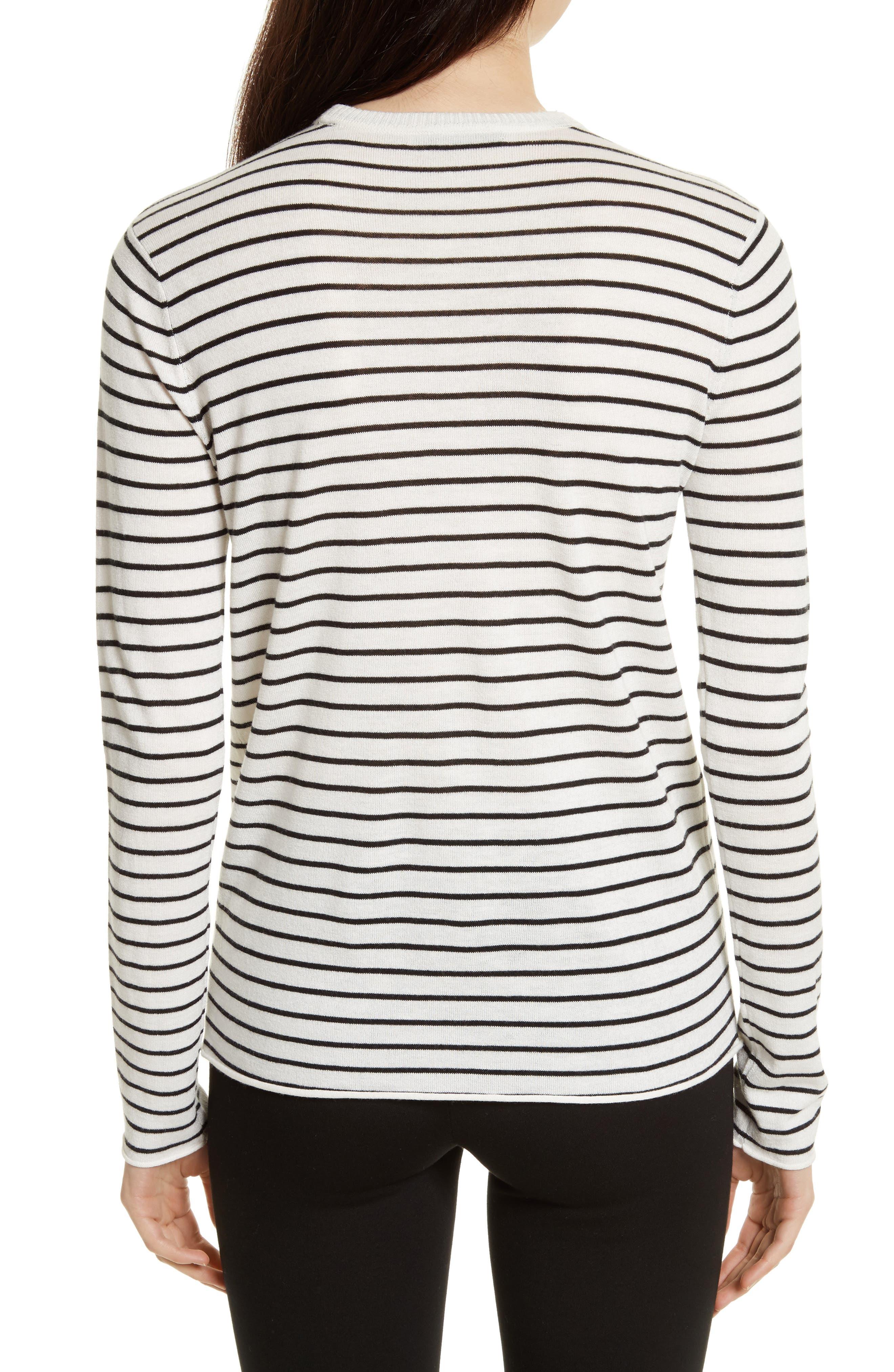 Stripe Silk Blend Sweater,                             Alternate thumbnail 2, color,                             Chalk/ Black