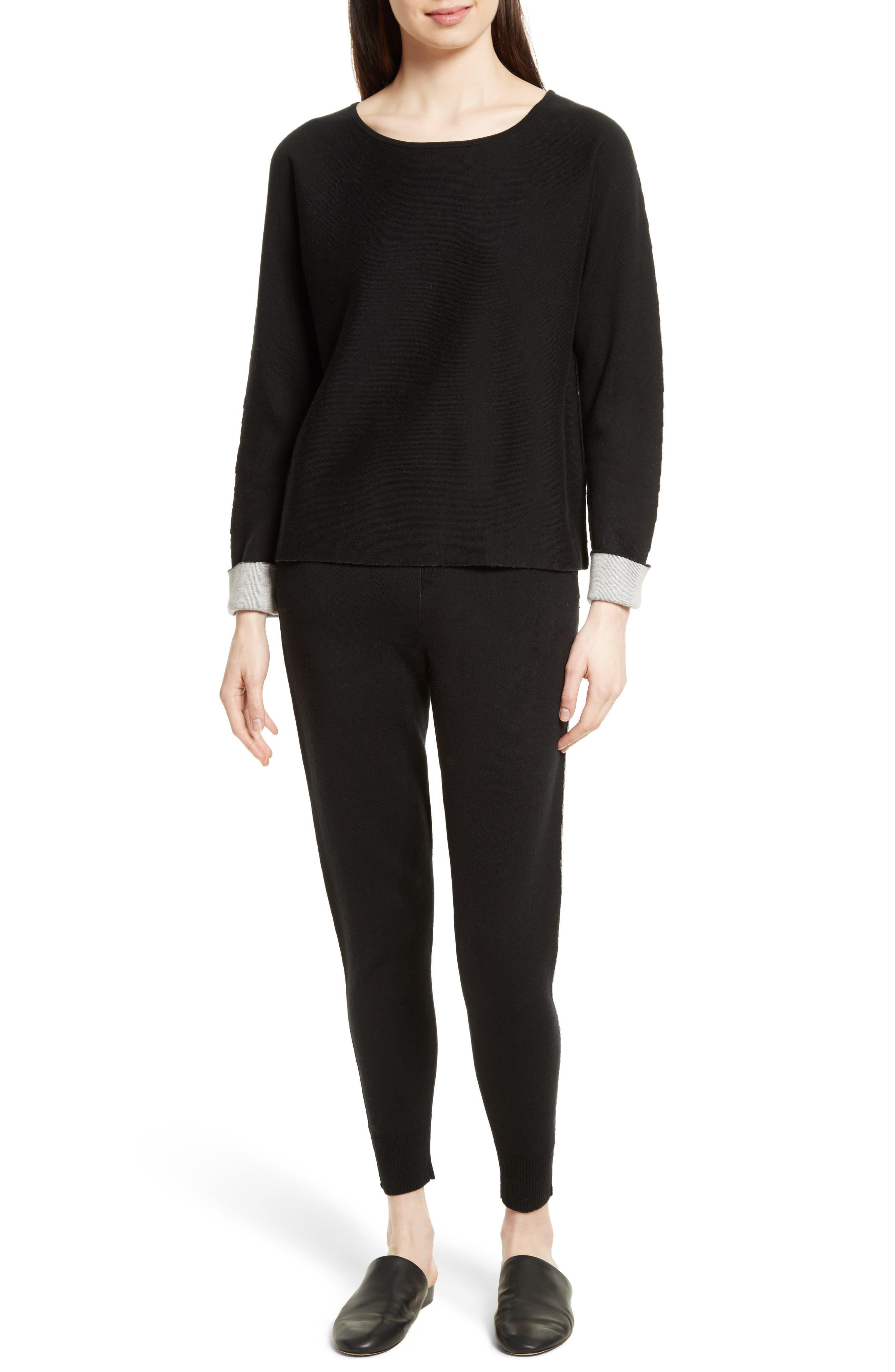 Cotton Blend Knit Sweatpants,                             Alternate thumbnail 2, color,                             Black/ Foggy