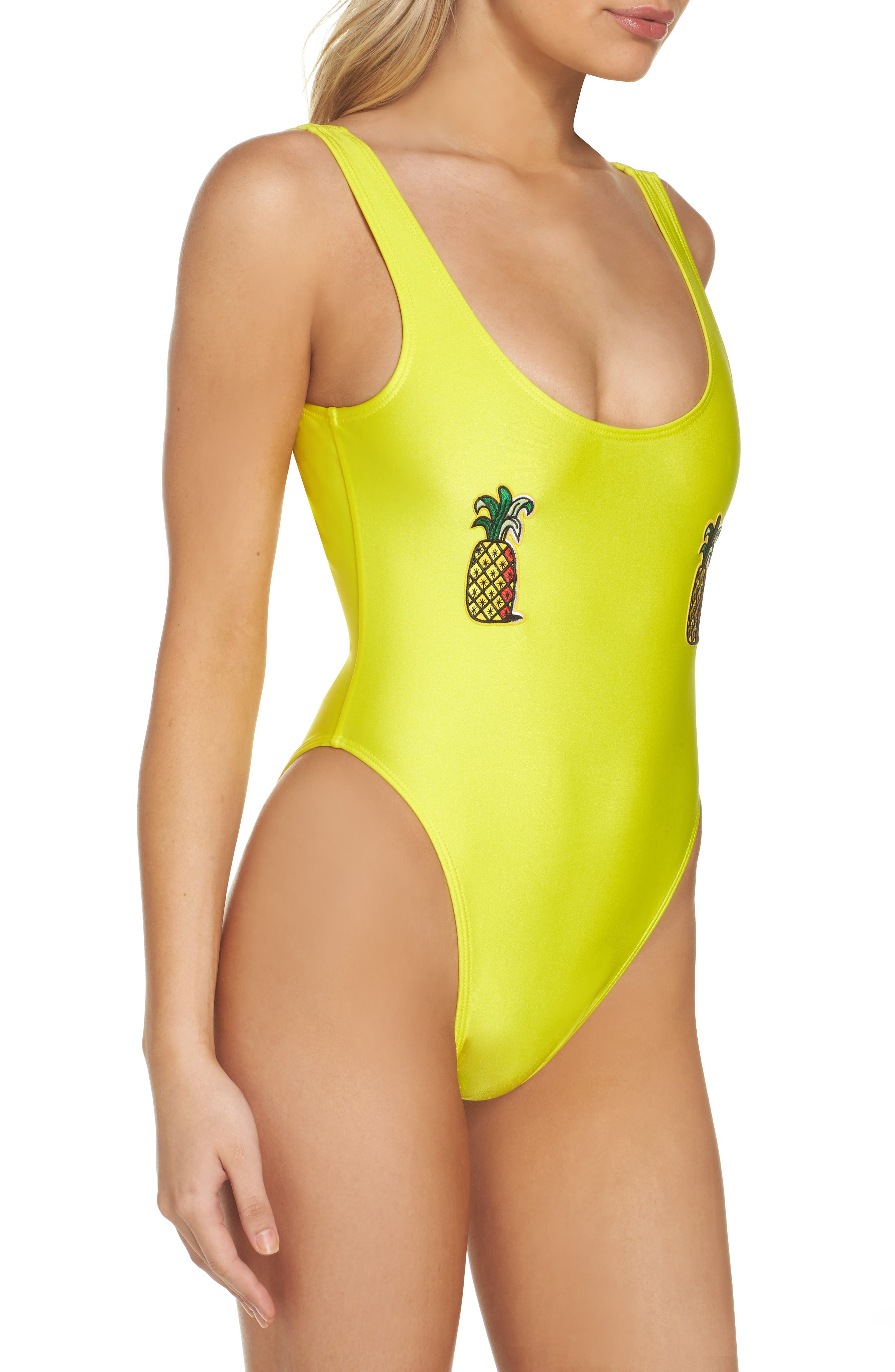 Alternate Image 3  - Private Party Classic Pineapple Neon One-Piece Swimsuit