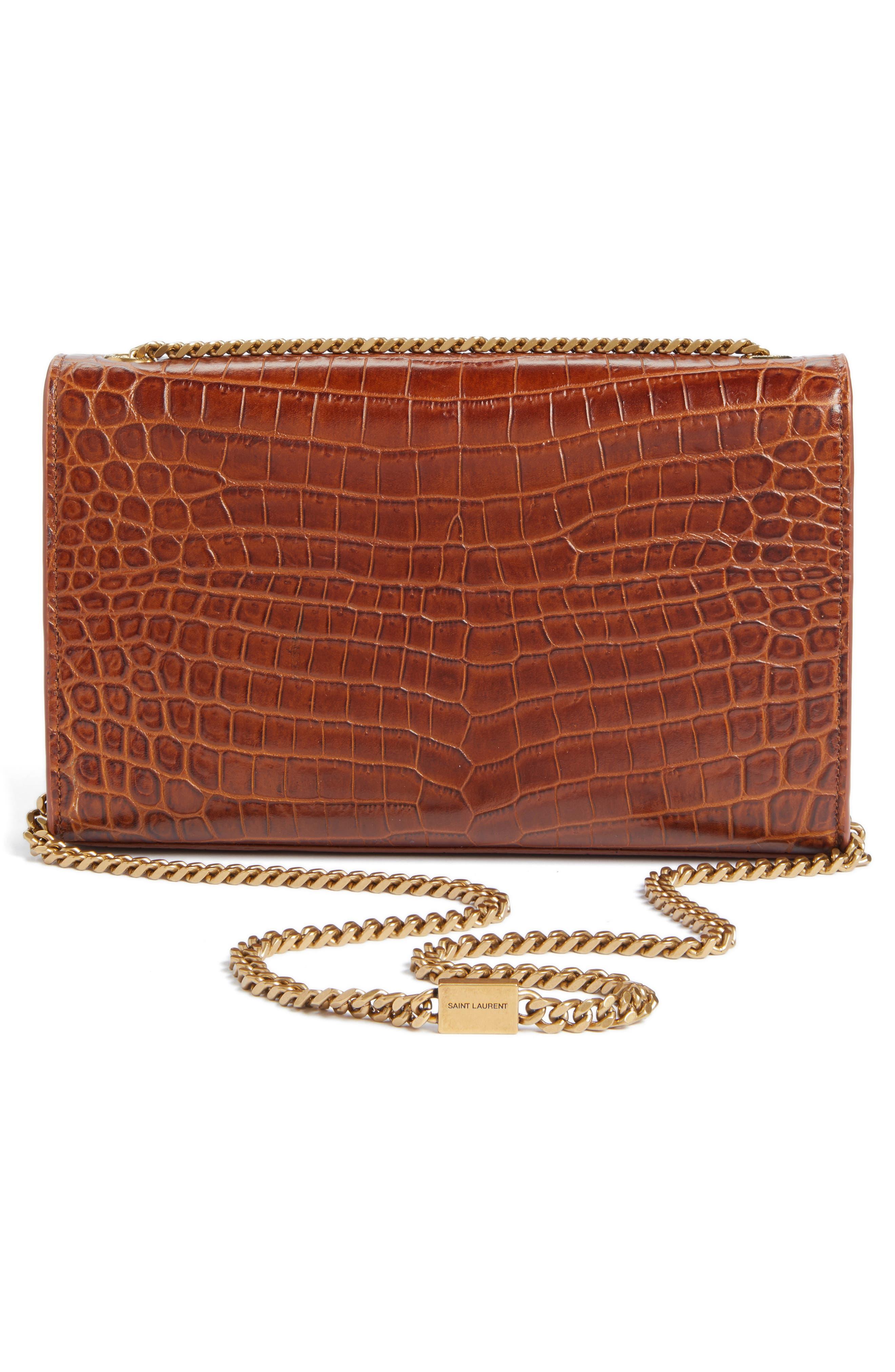 Alternate Image 3  - Saint Laurent Medium Kate Croc Embossed Leather Shoulder Bag
