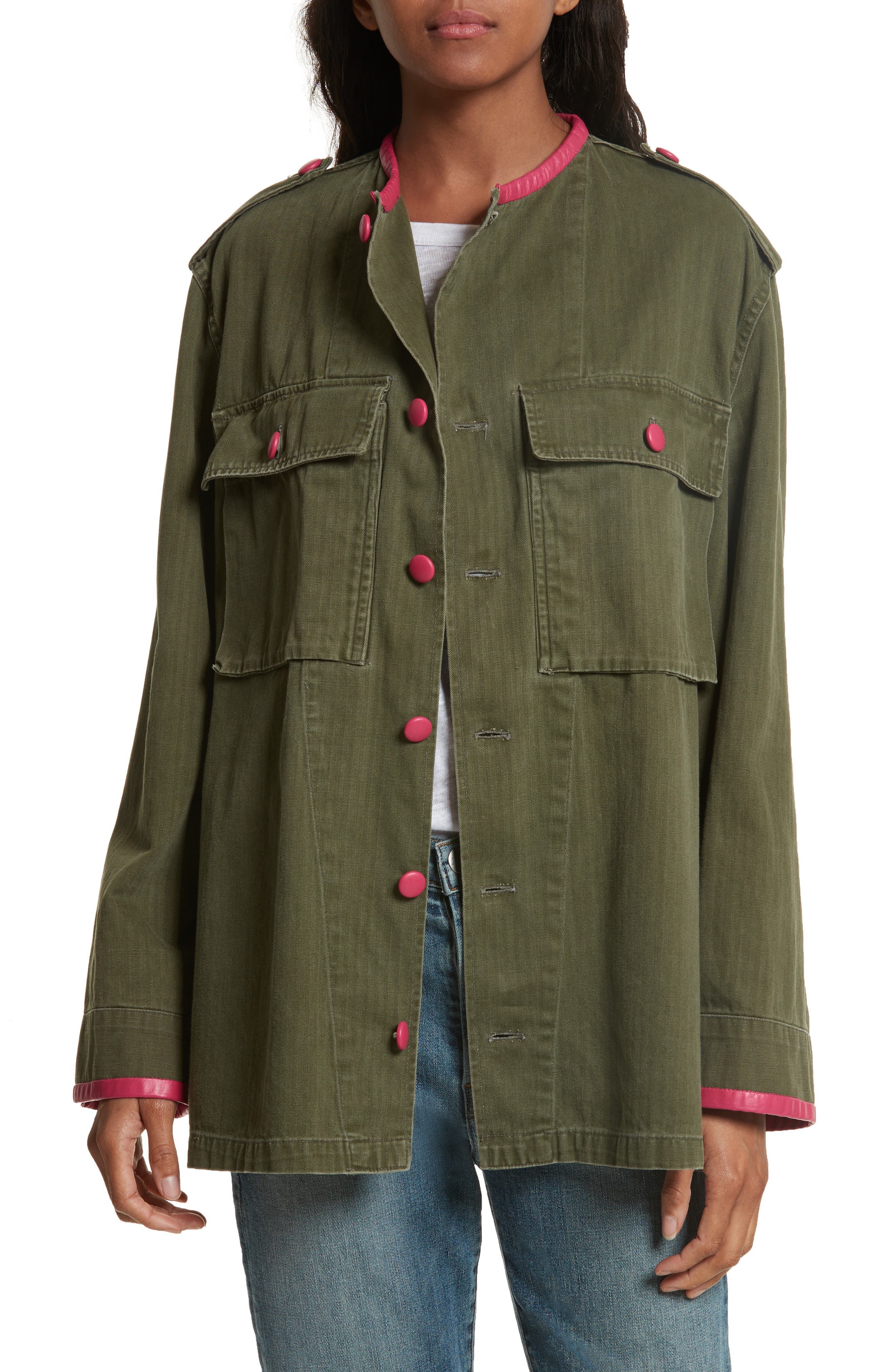 Harvey Faircloth Leather Trim Vintage Army Jacket