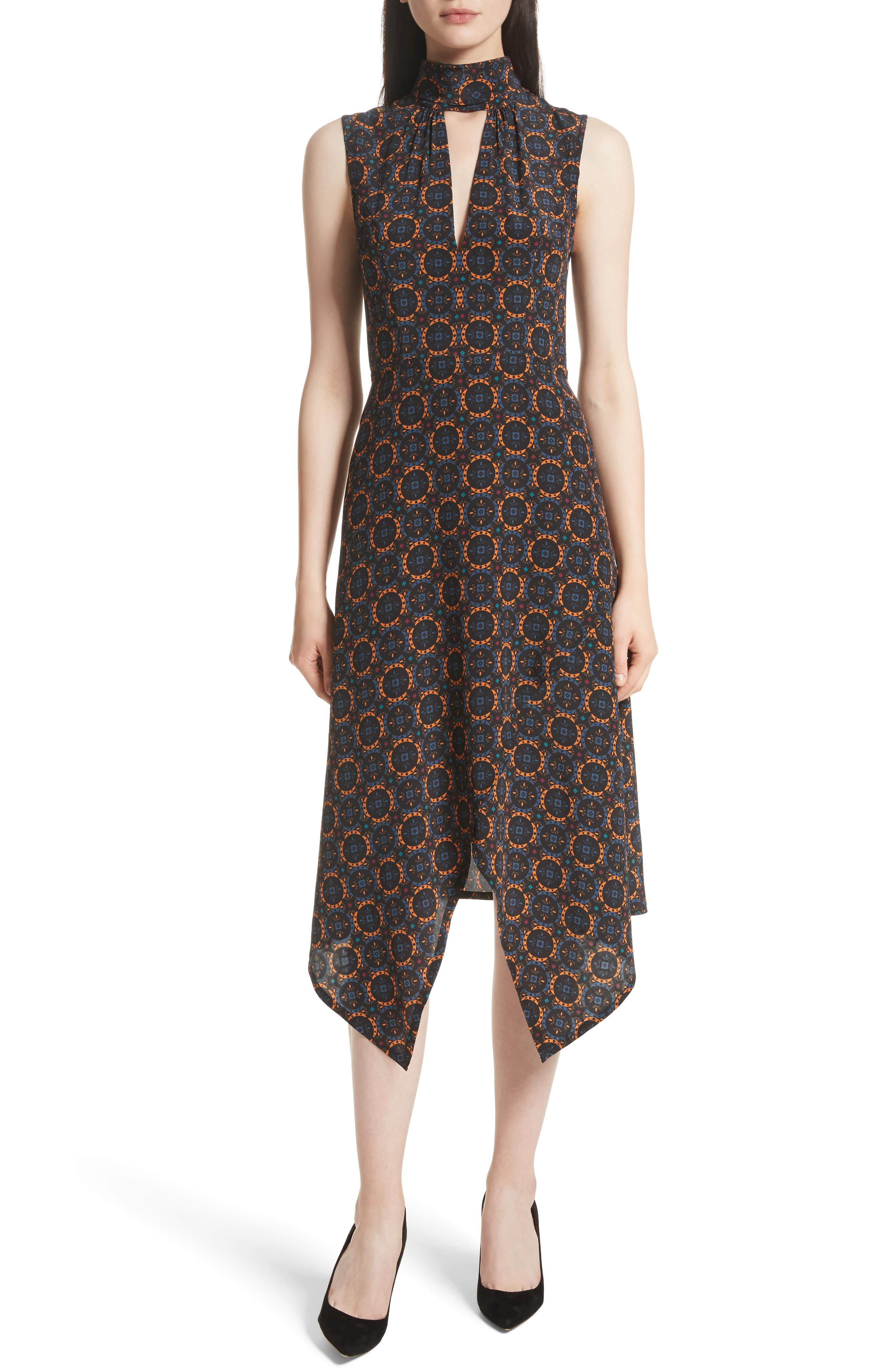 Kerchief A-Line Silk Dress,                         Main,                         color, Foulard Placement