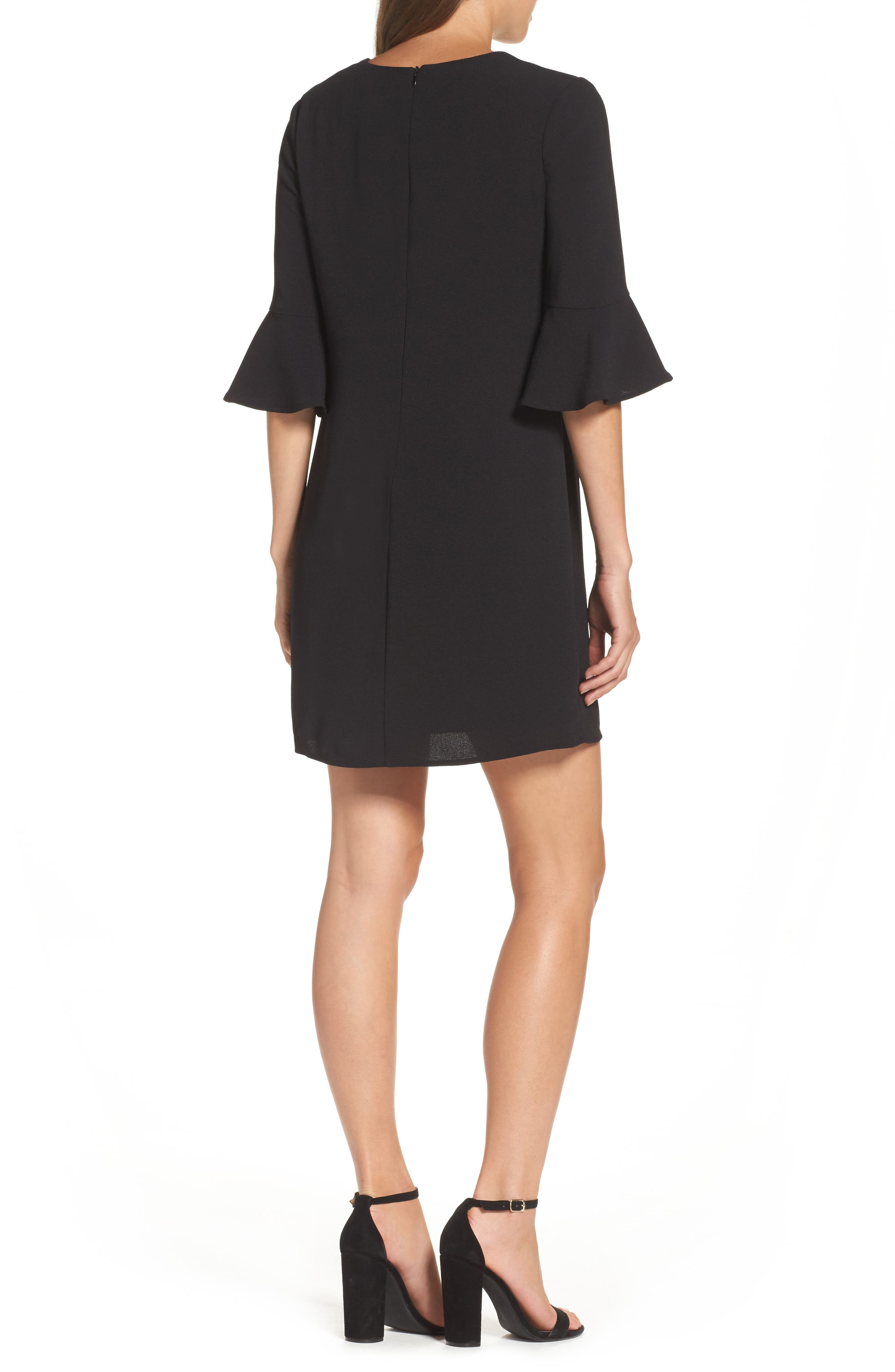 Ruffle Sleeve Shift Dress,                             Alternate thumbnail 2, color,                             Black