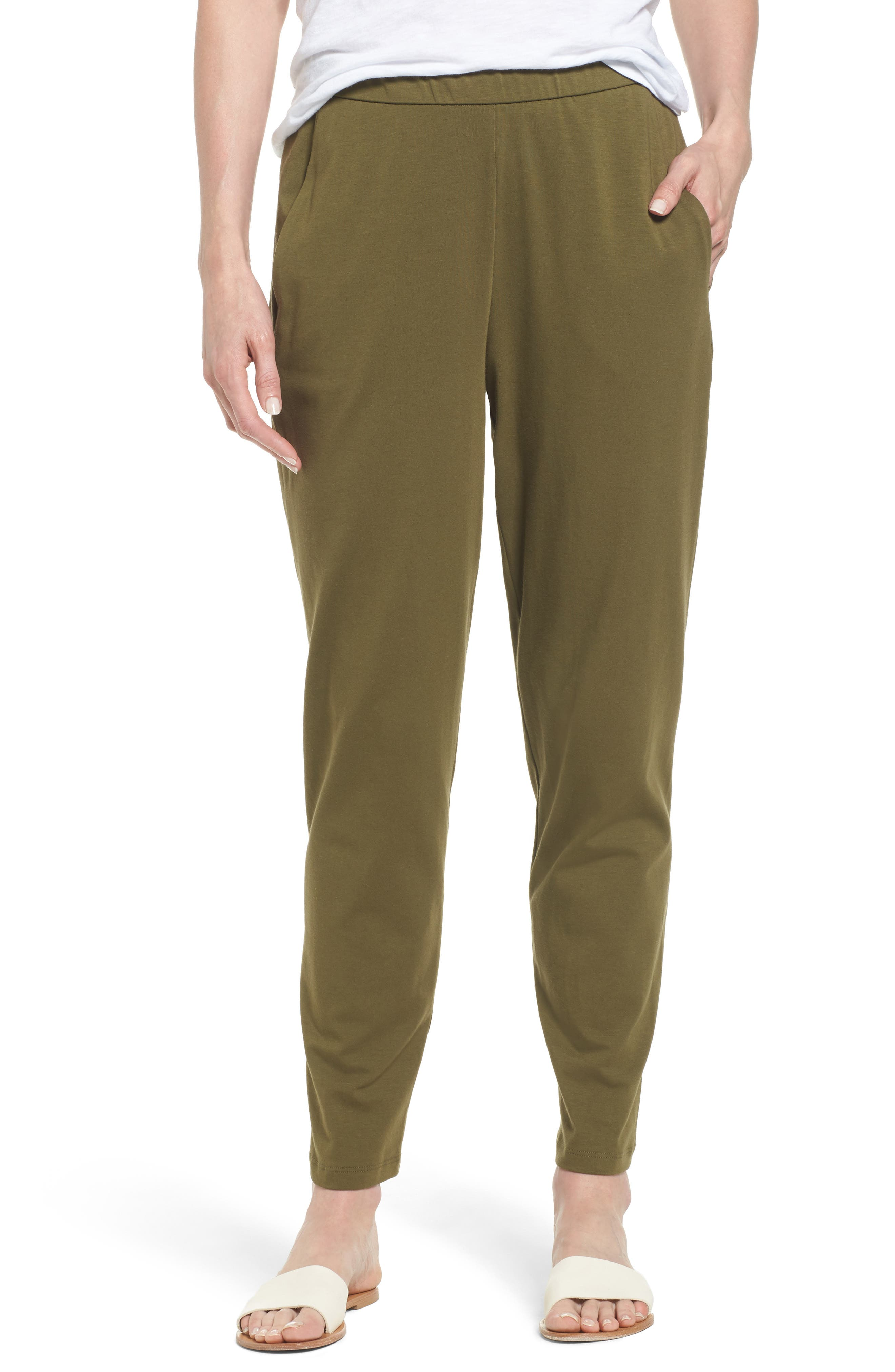 Alternate Image 1 Selected - Eileen Fisher Stretch Organic Cotton Slim Slouchy Ankle Pants (Regular & Petite)