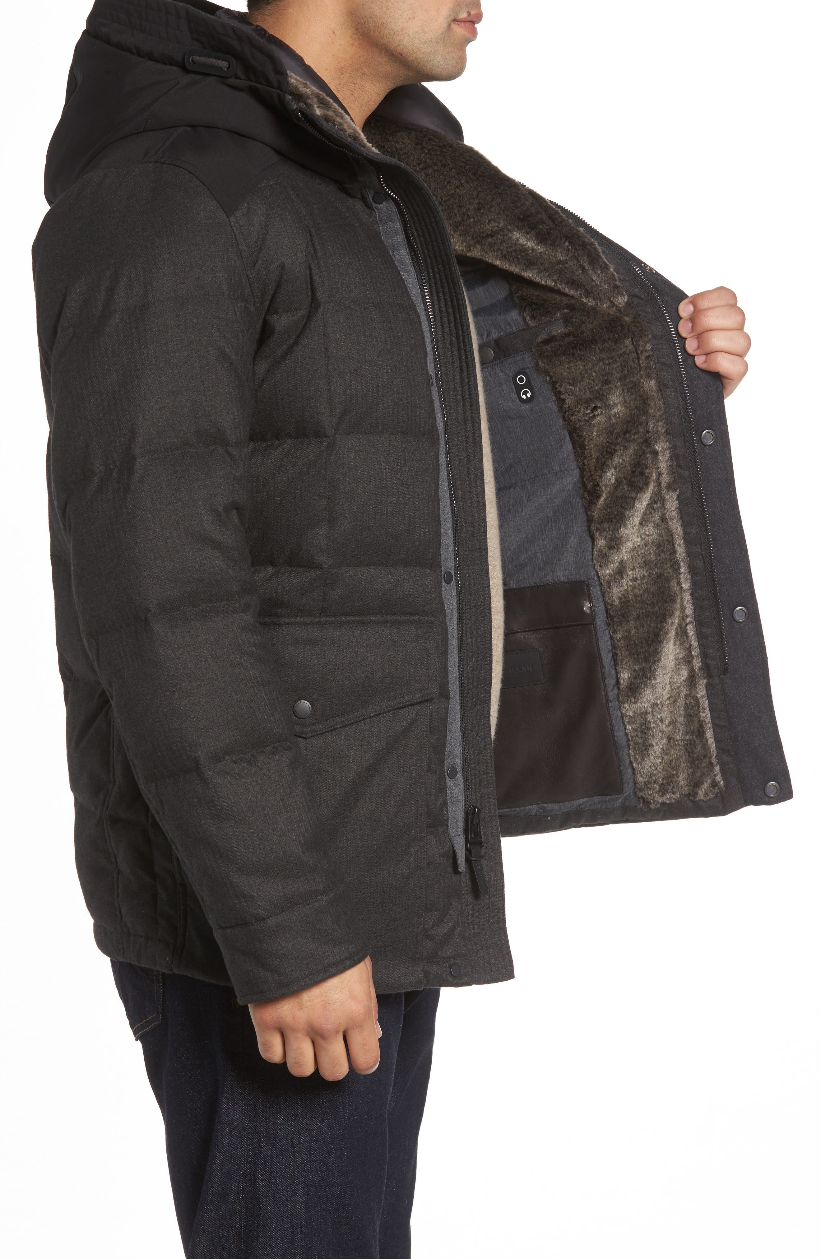 Faux Fur Trim Mixed Media Hooded Down Jacket,                             Alternate thumbnail 3, color,                             Charcoal