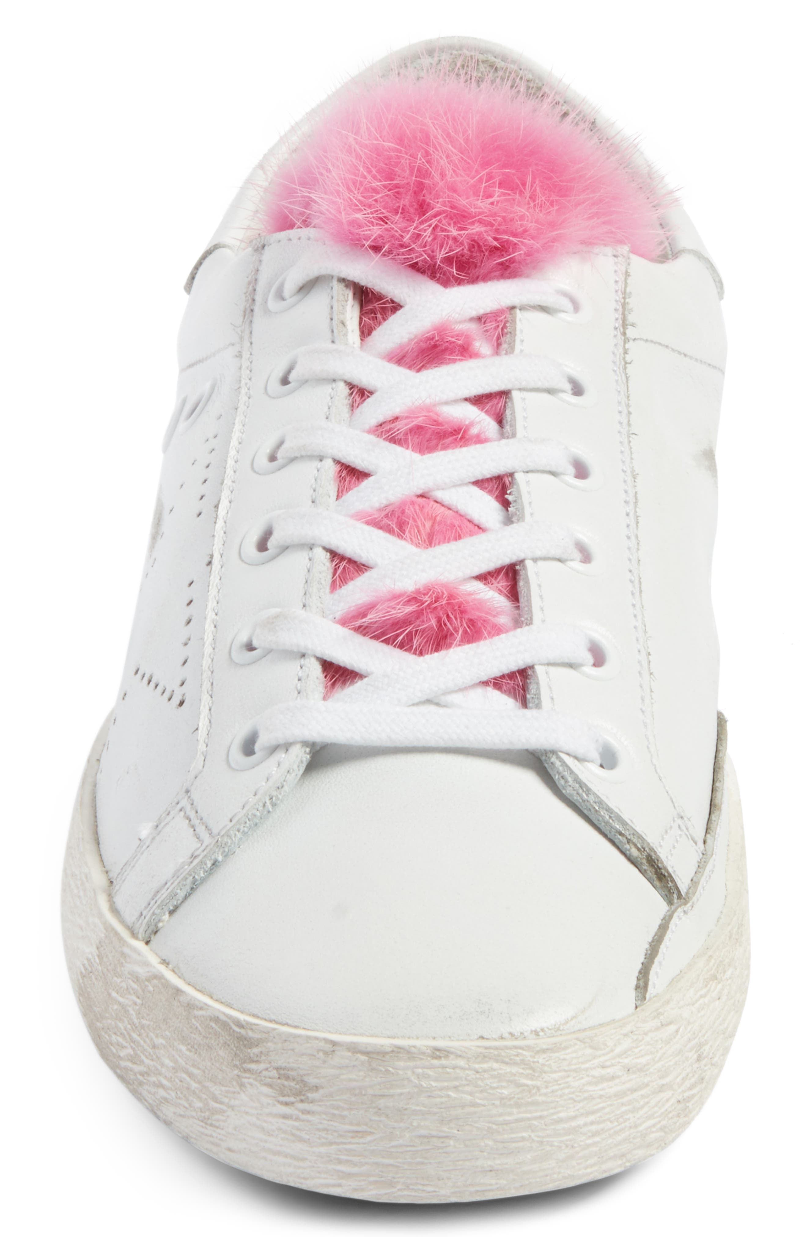 Superstar Genuine Mink Fur Sneaker,                             Alternate thumbnail 4, color,                             White Leather/ Pink