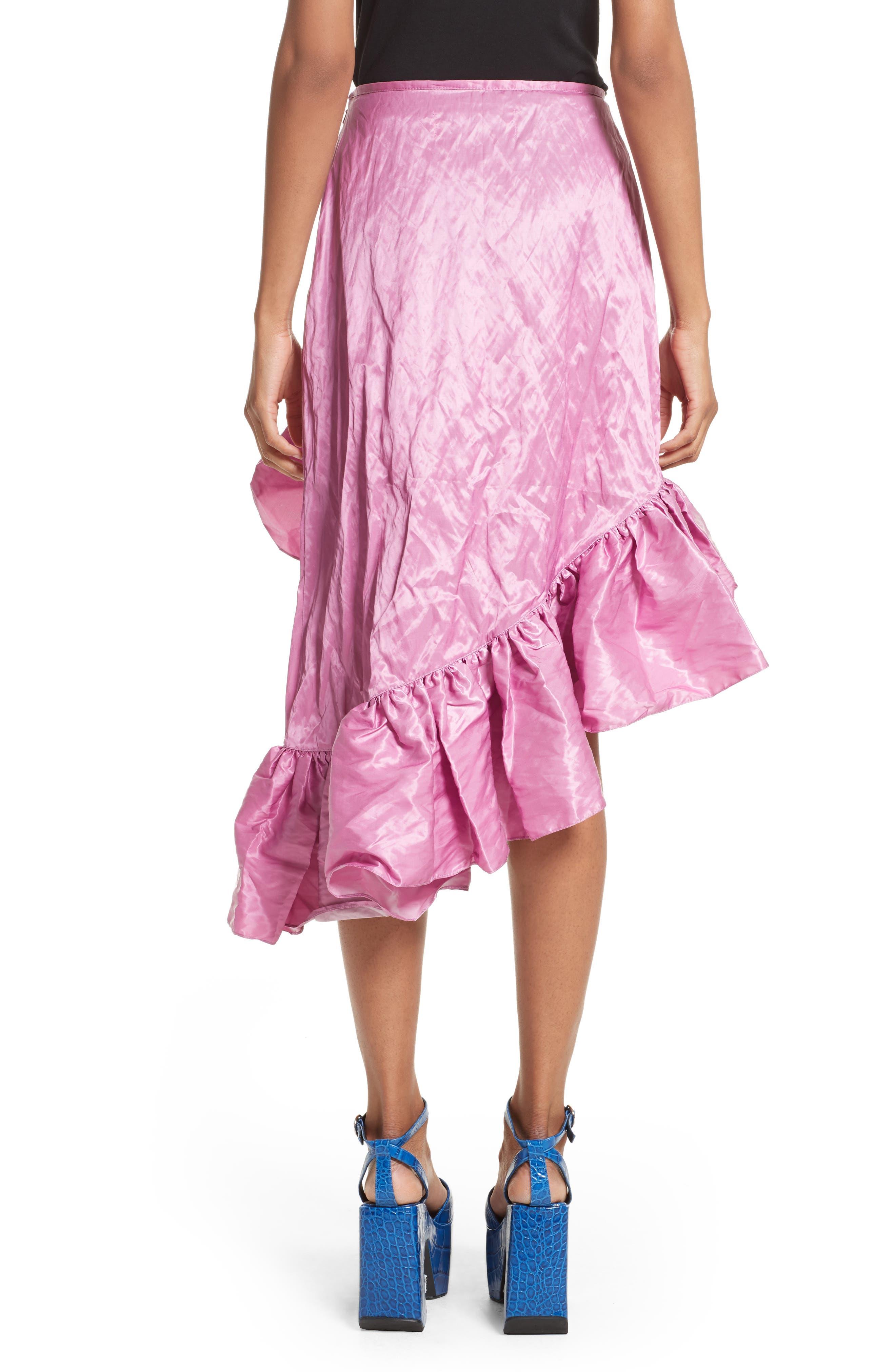 Marques'Almeida Asymmetrical Ruffle Taffeta Skirt,                             Alternate thumbnail 2, color,                             Pink