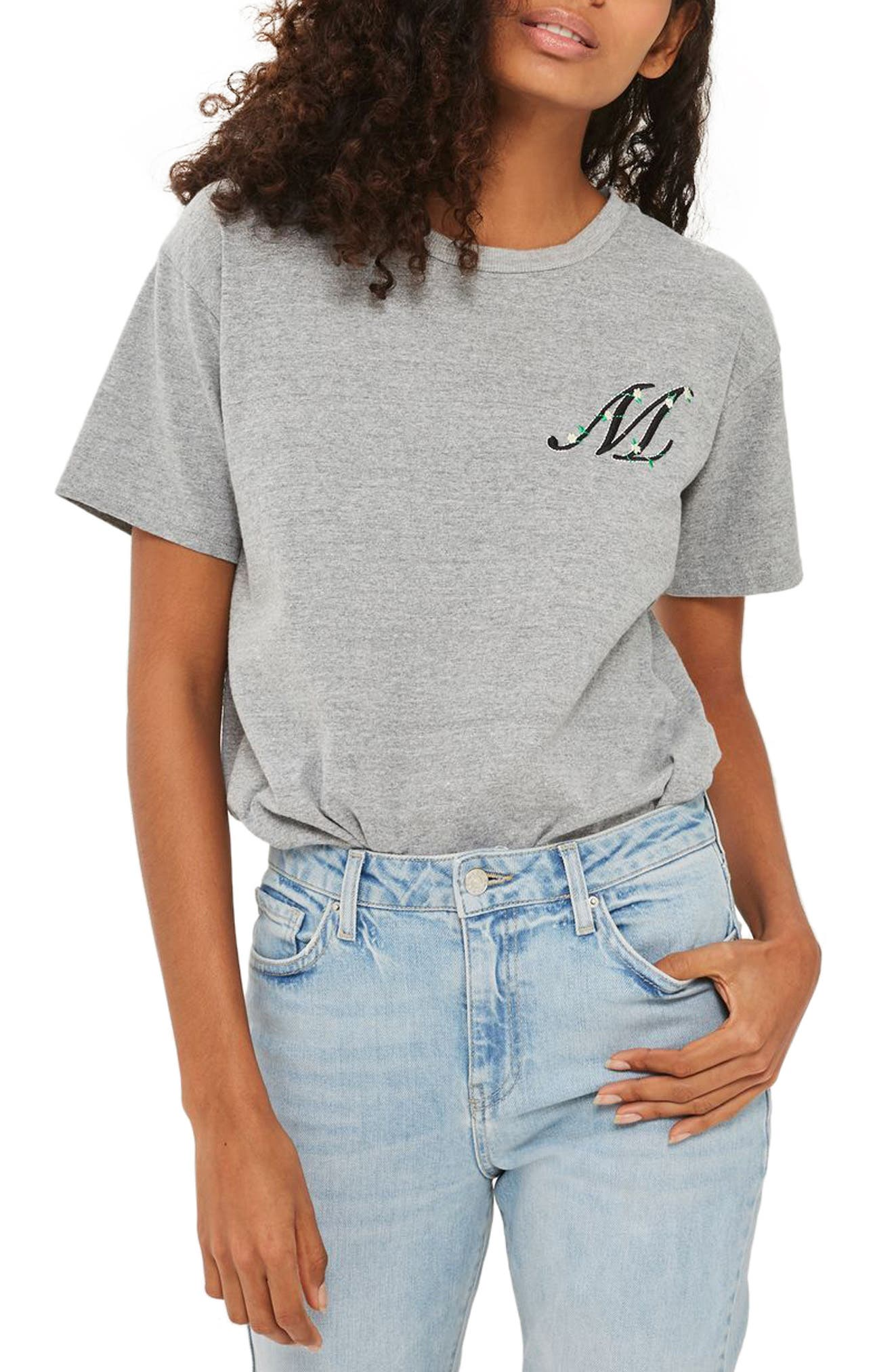 Initial Embroidered Tee,                         Main,                         color, Grey Marl M