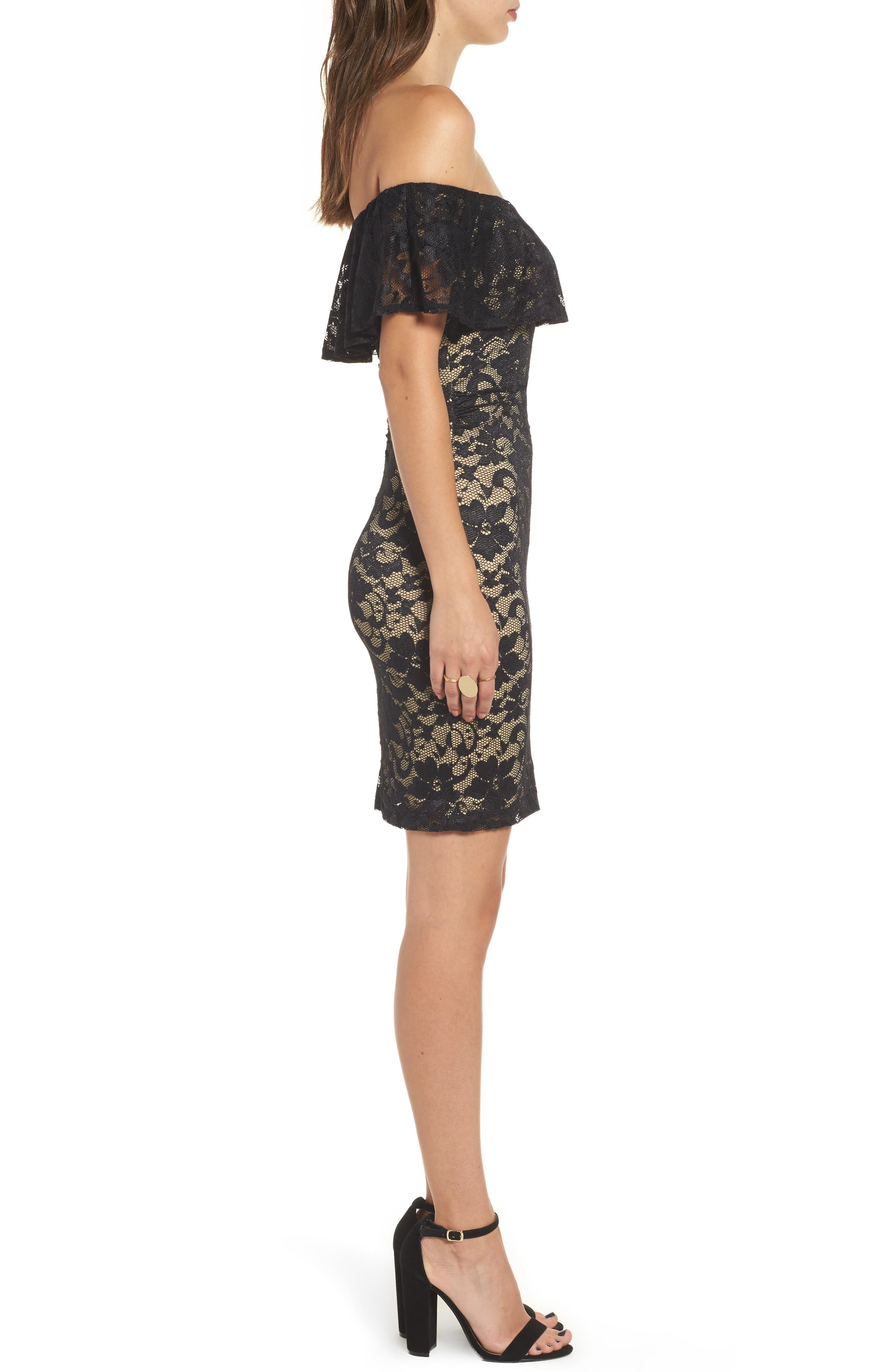 Love Nickie Lew Lace Off the Shoulder Dress,                             Alternate thumbnail 3, color,                             Black/ Nude