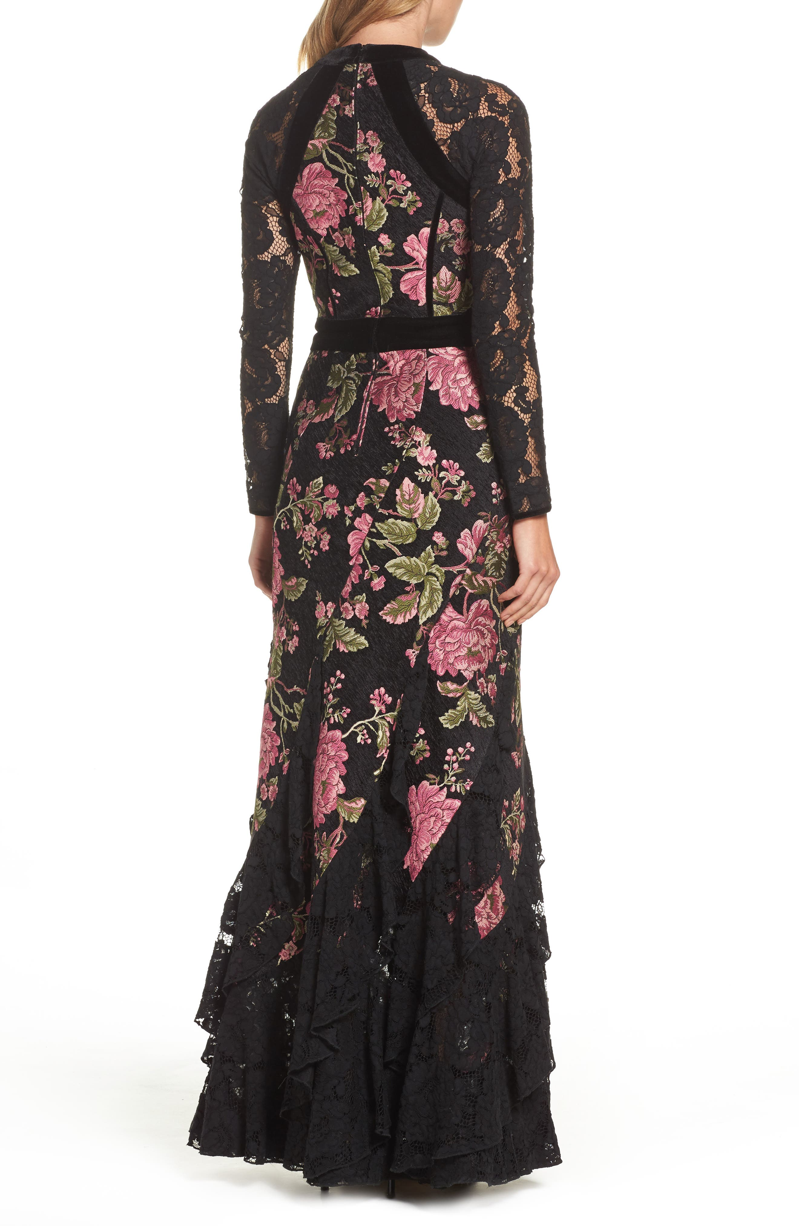 Lace & Brocade Mermaid Gown,                             Alternate thumbnail 2, color,                             Black