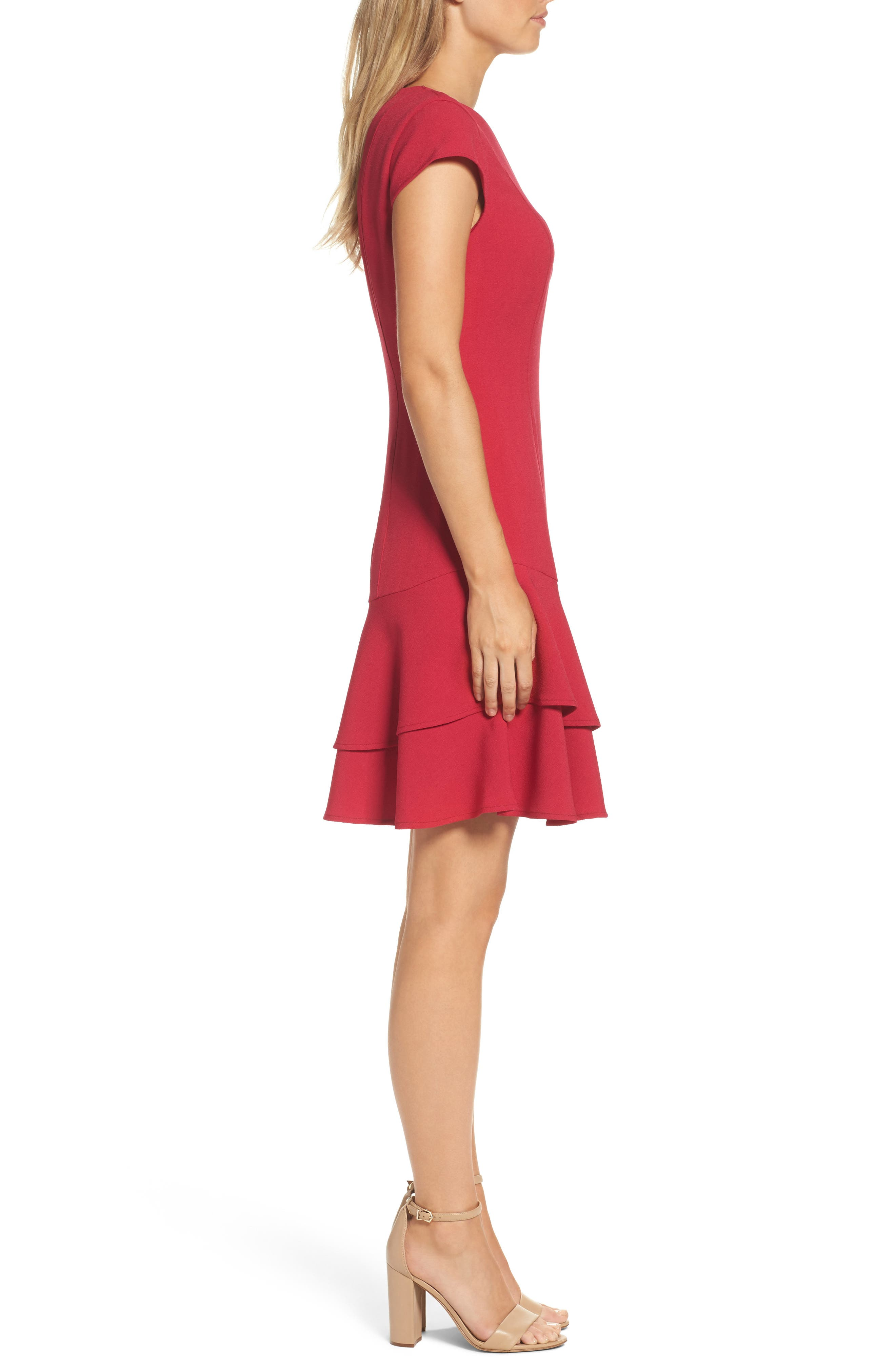 Stretch Crepe Sheath Dress,                             Alternate thumbnail 3, color,                             Berry