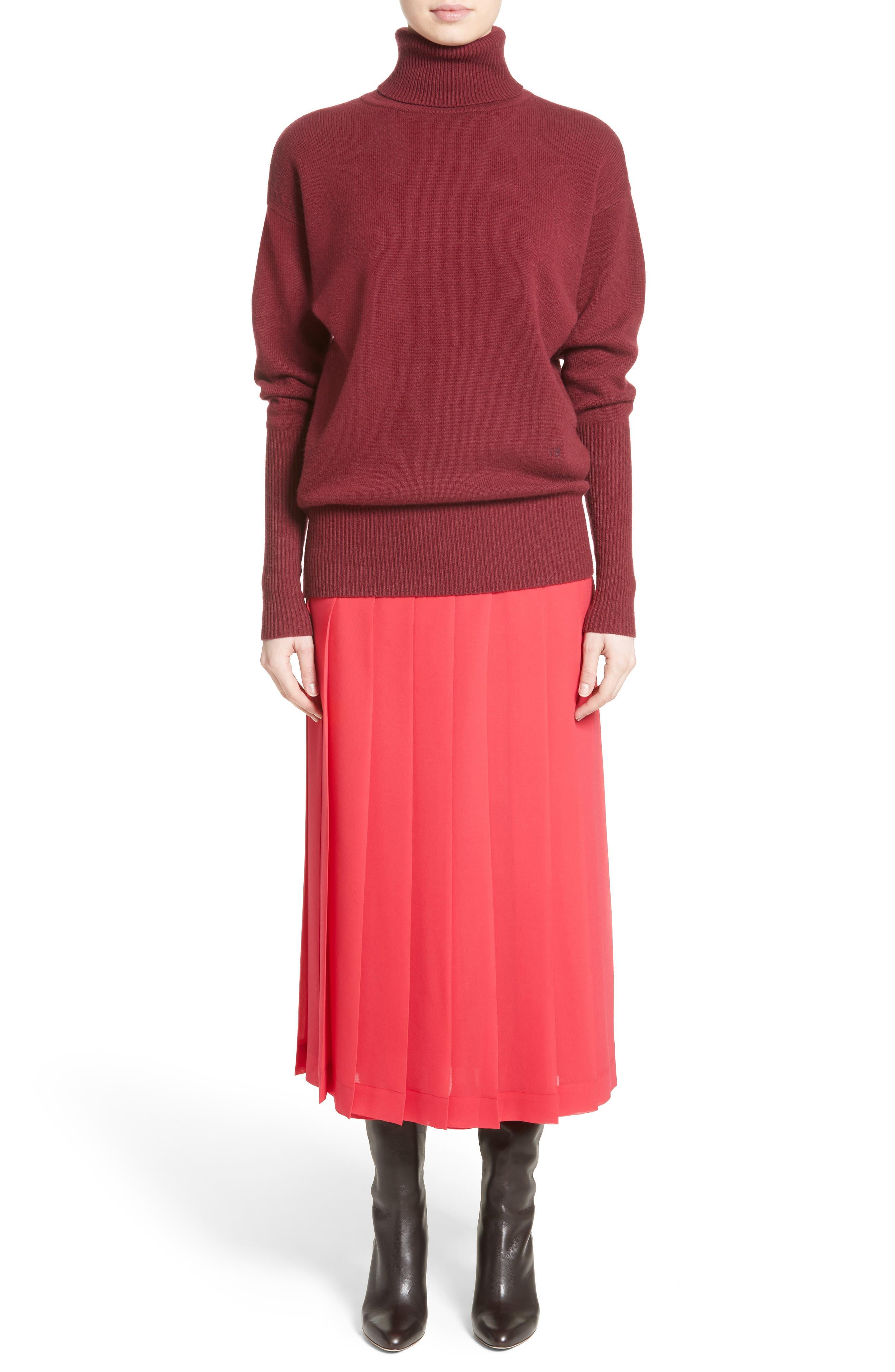 Cashmere Turtleneck Sweater,                             Alternate thumbnail 6, color,                             Cherry