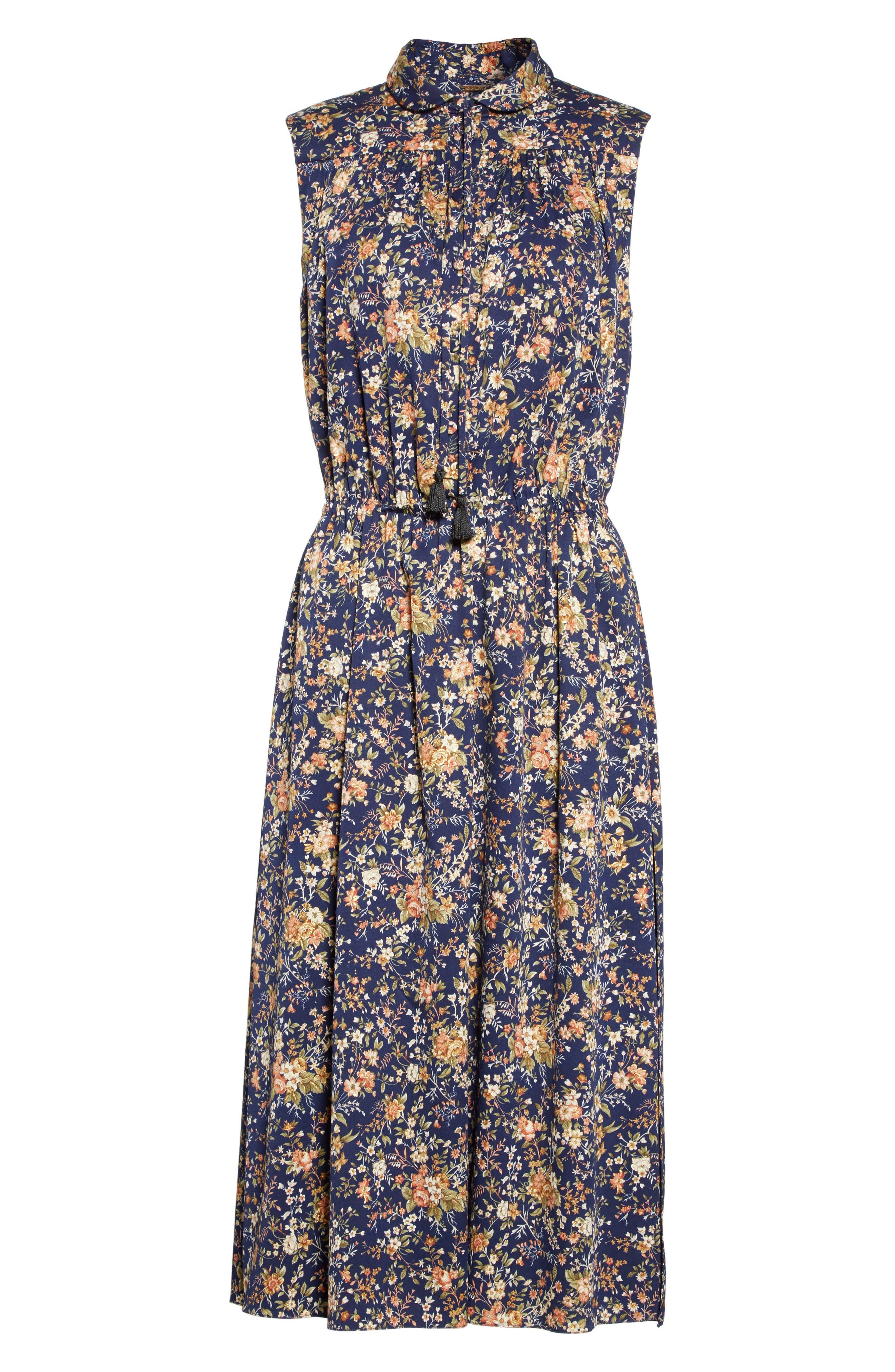 Floral Print Silk Dress,                             Alternate thumbnail 6, color,                             Navy