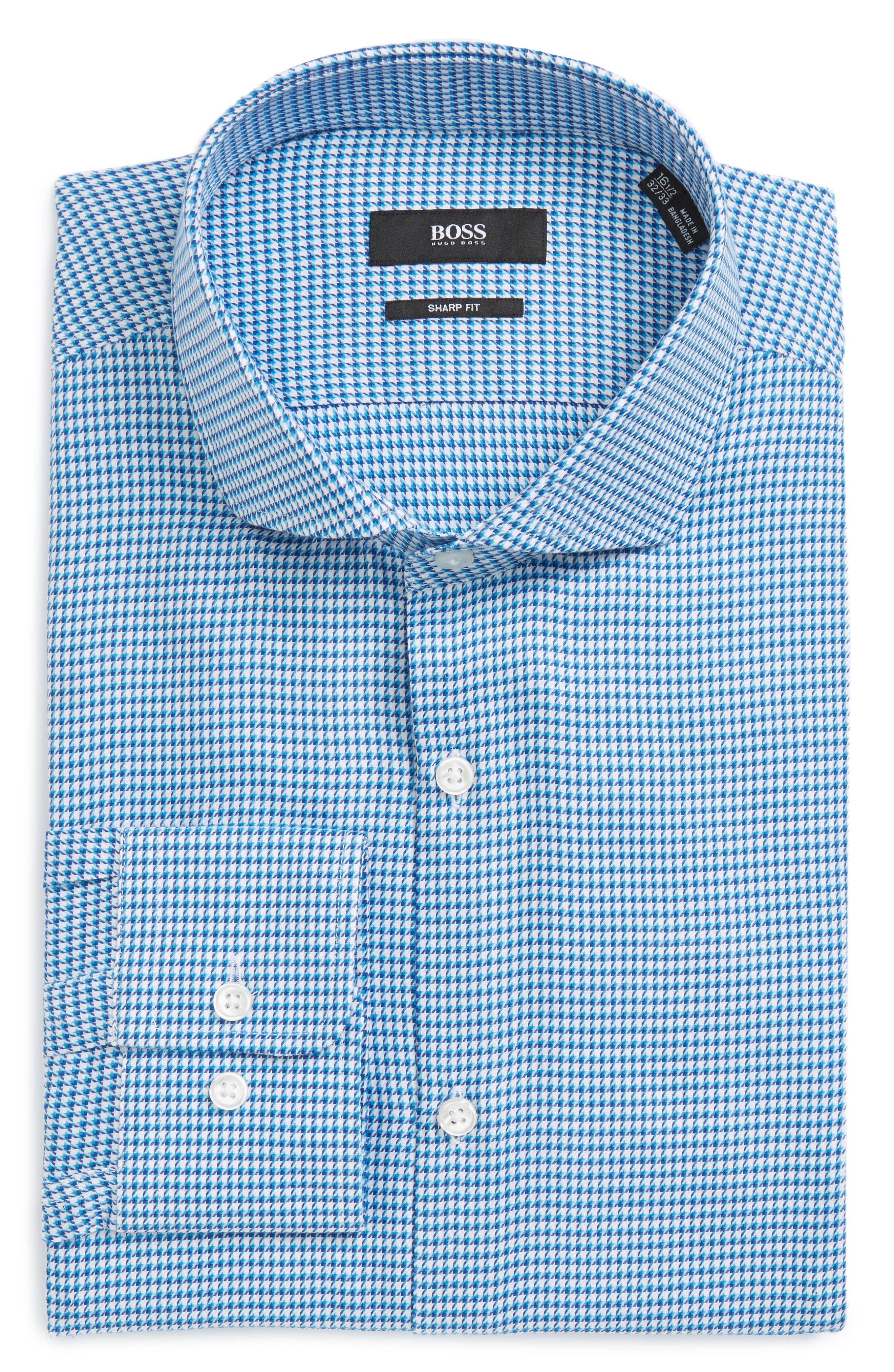 Mark Sharp Fit Houndstooth Dress Shirt,                         Main,                         color, Turquoise/ Aqua