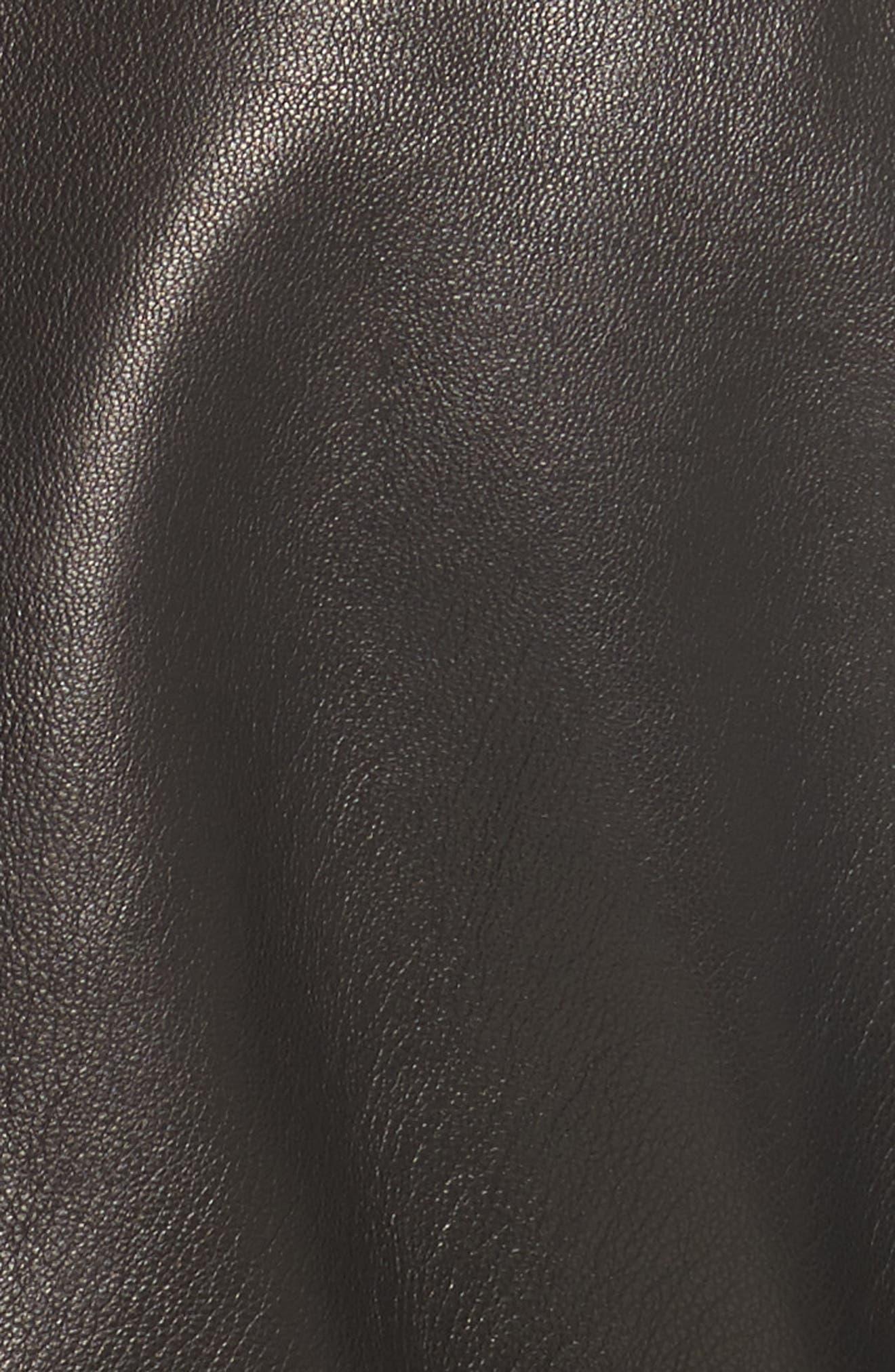 Bell Sleeve Leather Dress,                             Alternate thumbnail 5, color,                             Black