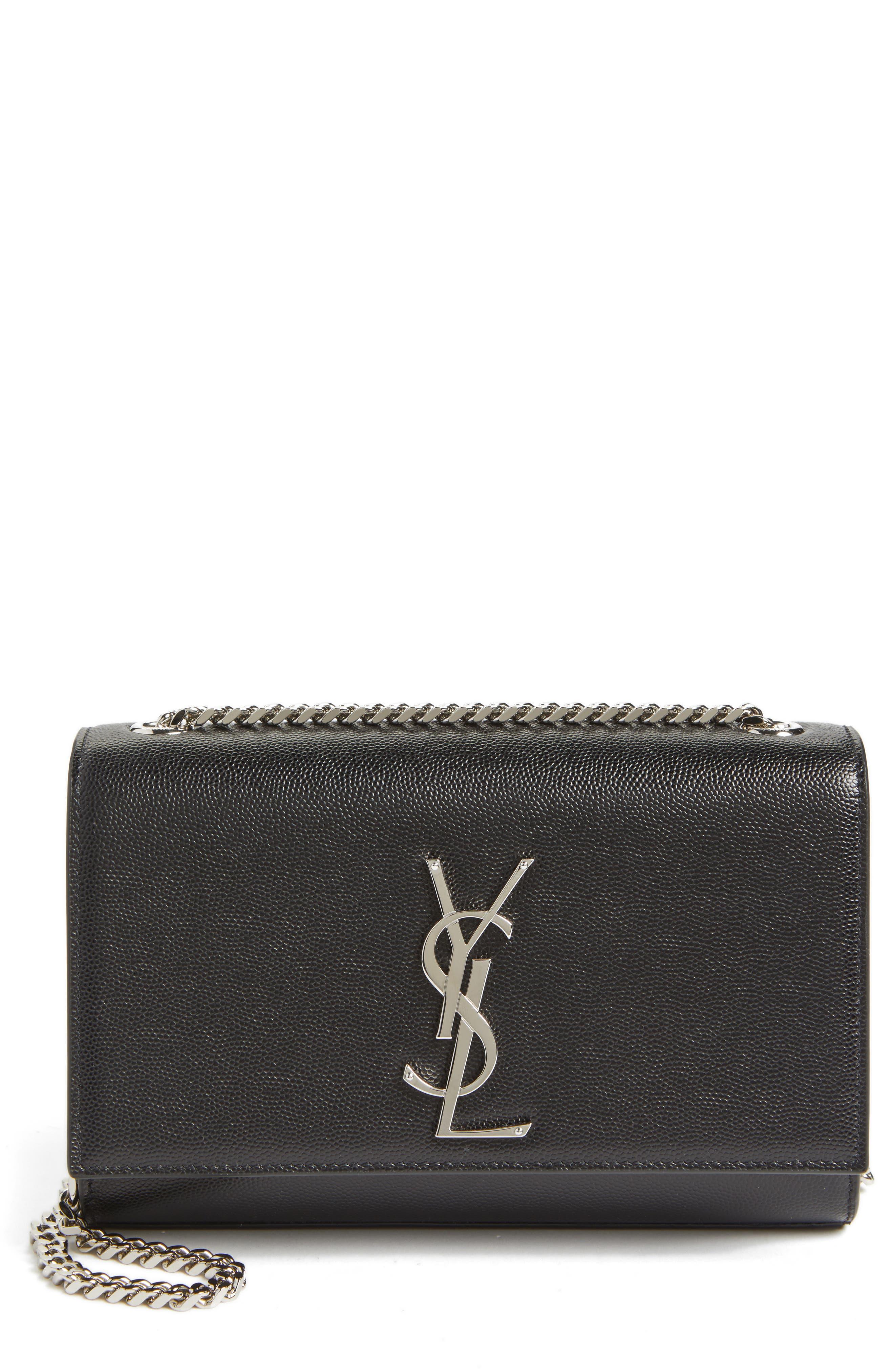Small Kate Grained Leather Crossbody Bag,                             Main thumbnail 1, color,                             Noir
