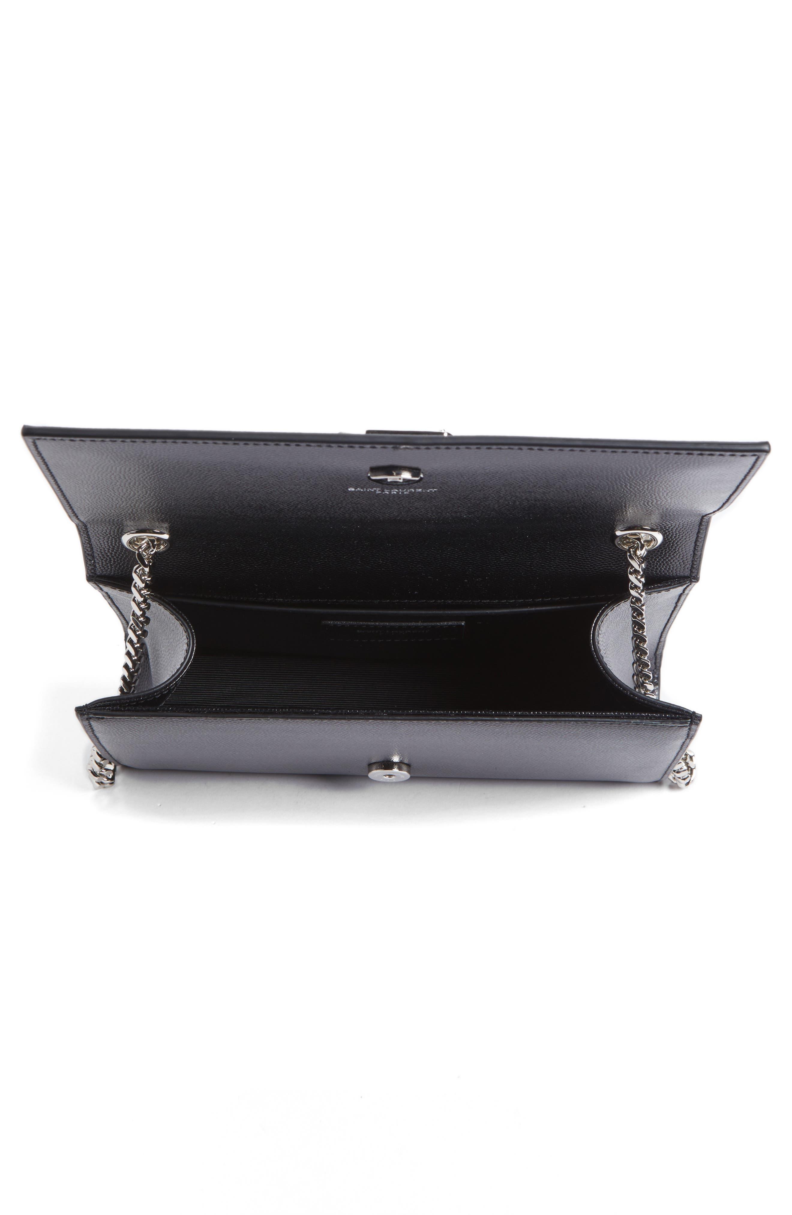 Small Kate Grained Leather Crossbody Bag,                             Alternate thumbnail 4, color,                             Noir