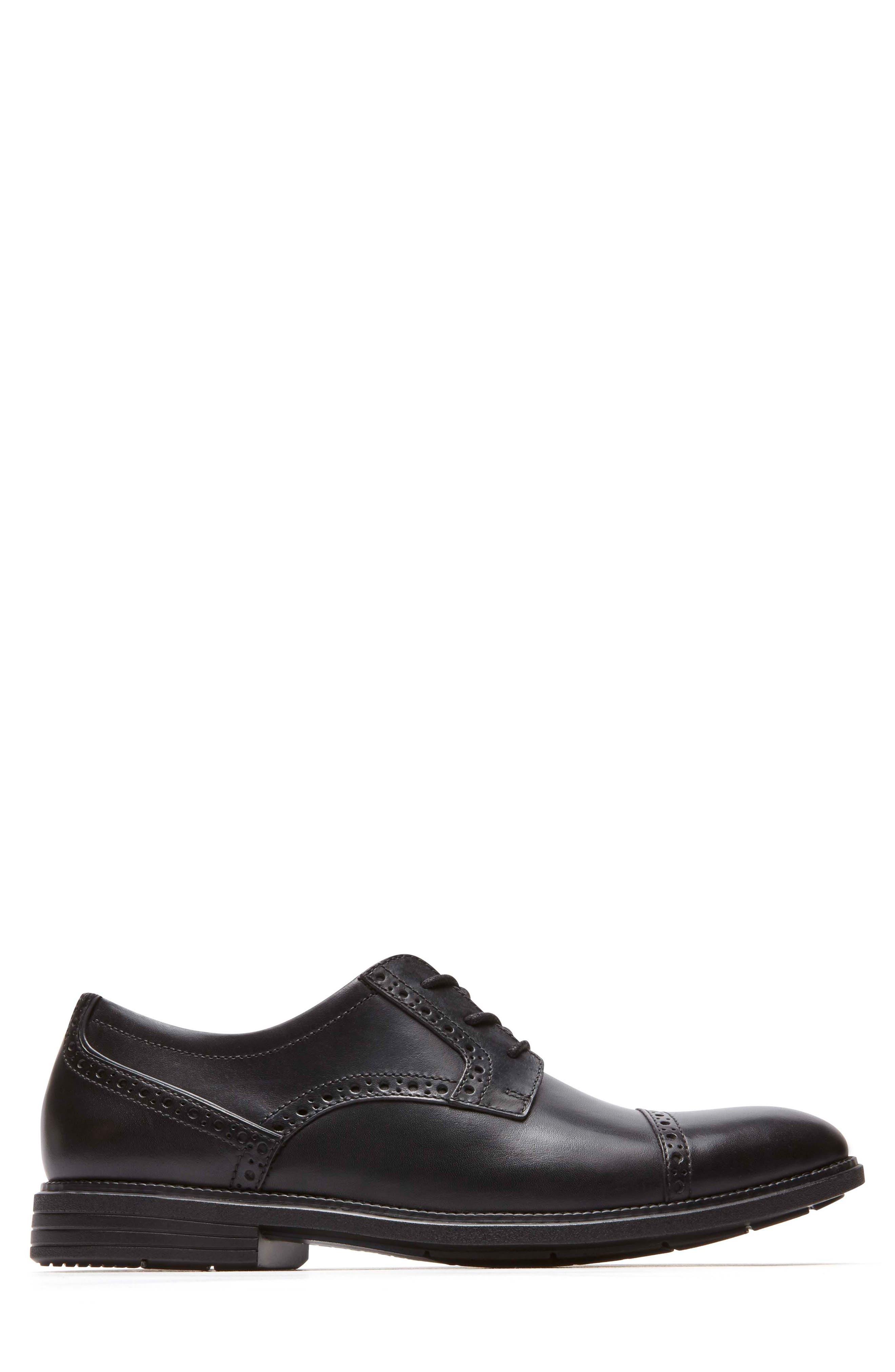 Madson Cap Toe Derby,                             Alternate thumbnail 3, color,                             Black Leather