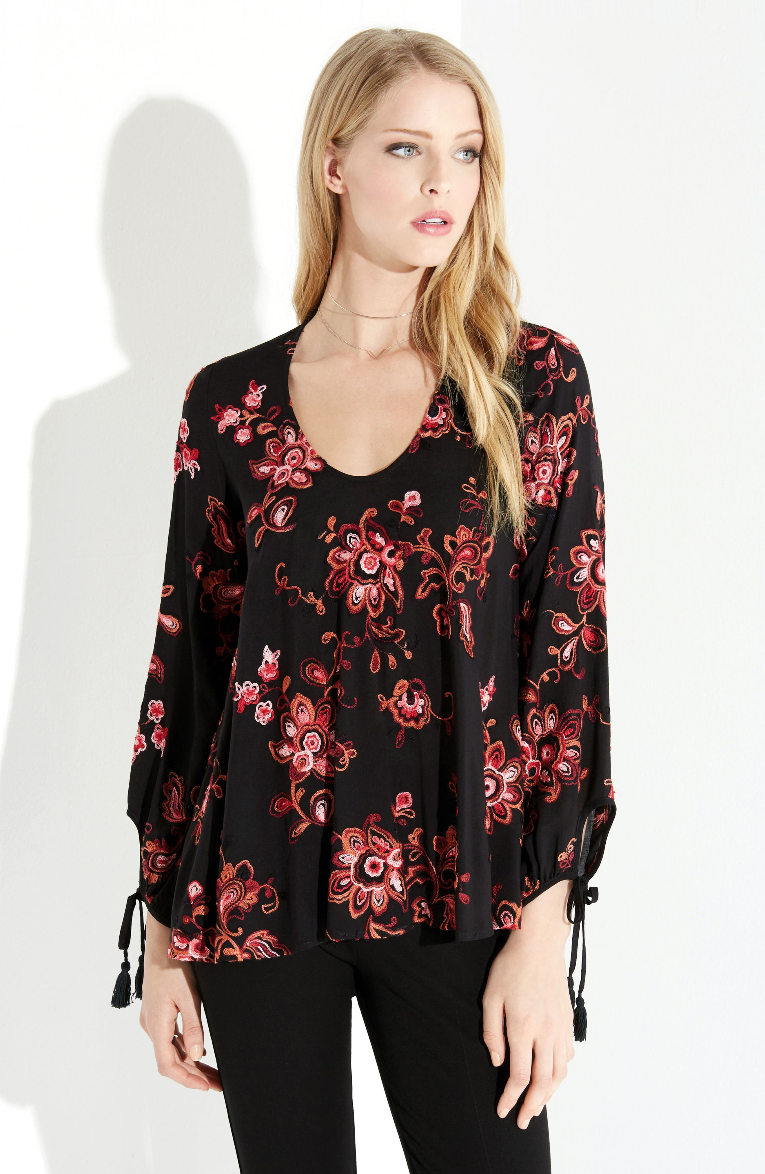 Tassel Sleeve Embroidered Top,                             Alternate thumbnail 3, color,                             Cayenne