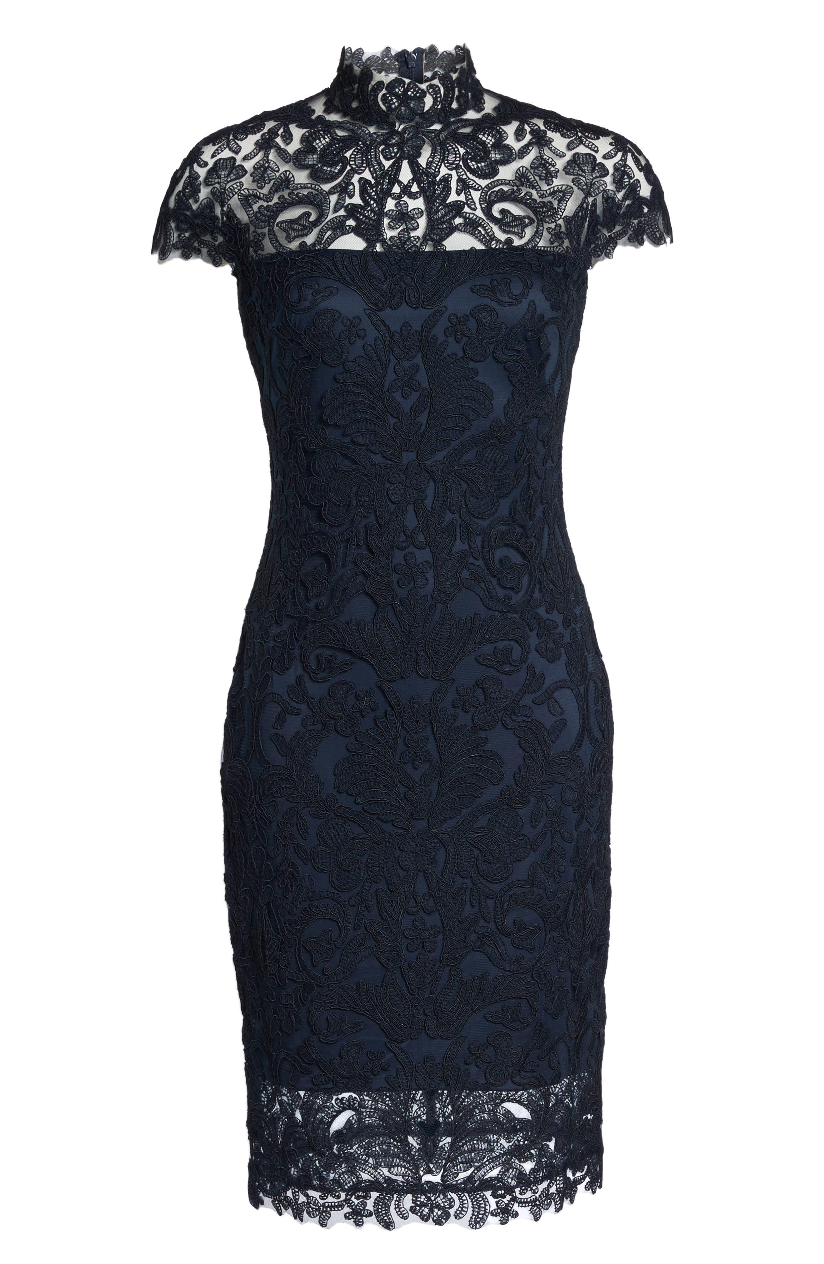 Mock Neck Corded Tulle Sheath Dress,                             Alternate thumbnail 6, color,                             Navy