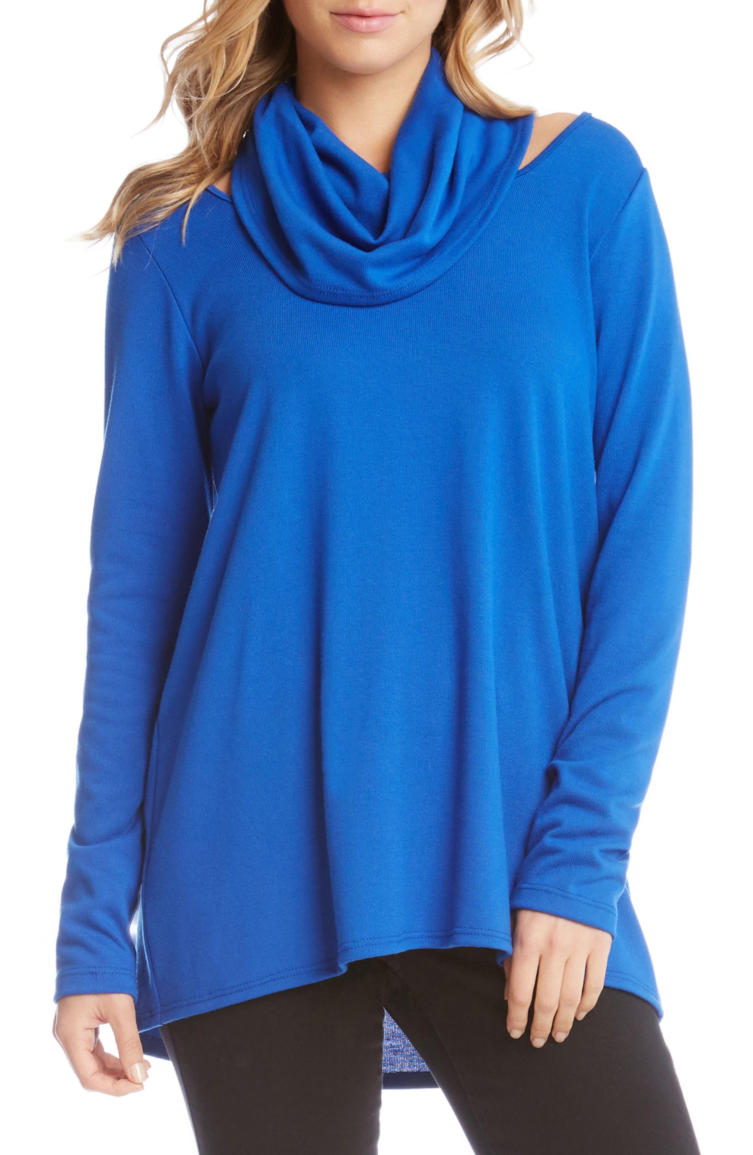 Cutout Cowl Neck Sweater,                         Main,                         color, Sapphire Blue