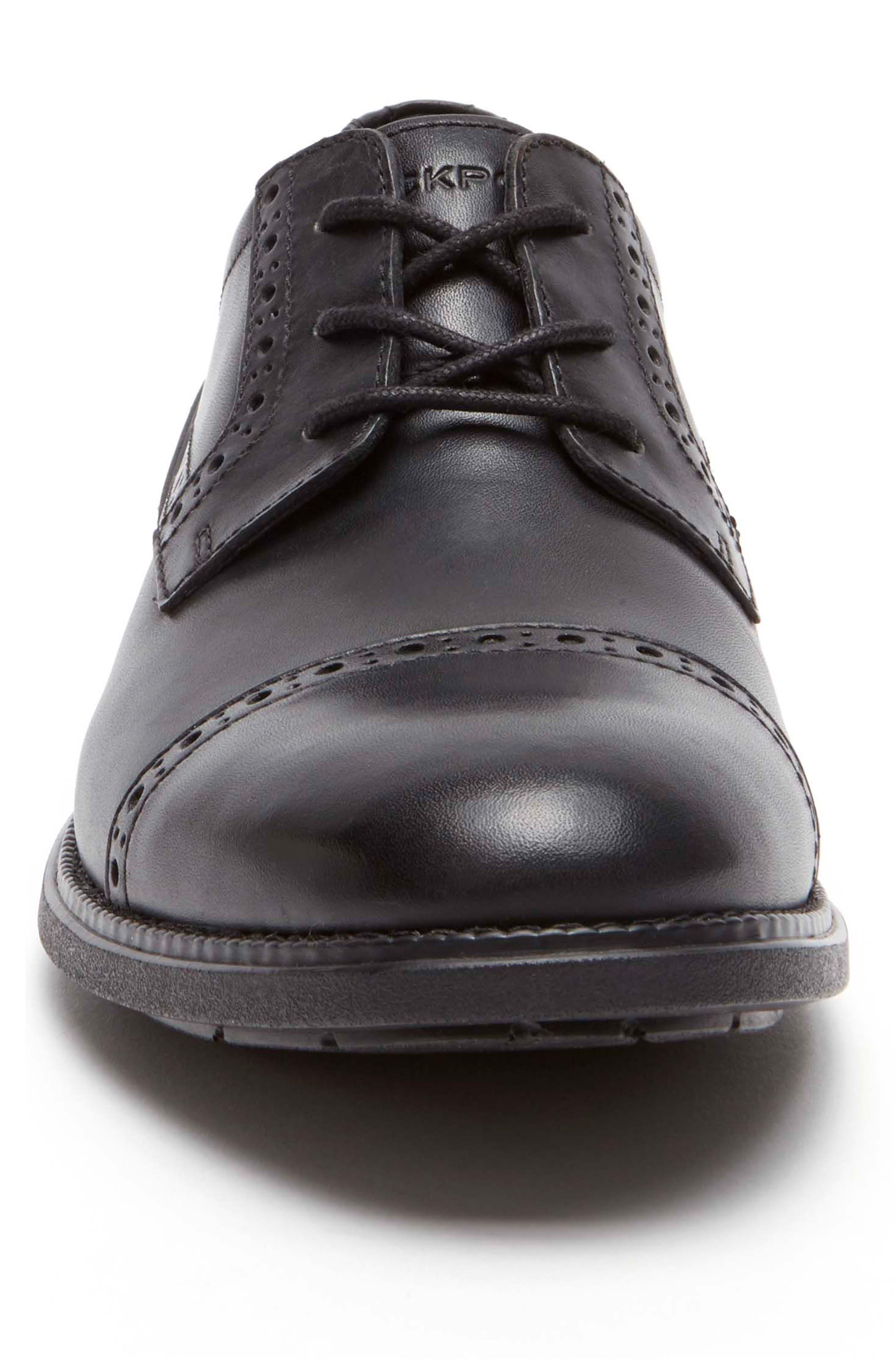 Madson Cap Toe Derby,                             Alternate thumbnail 4, color,                             Black Leather
