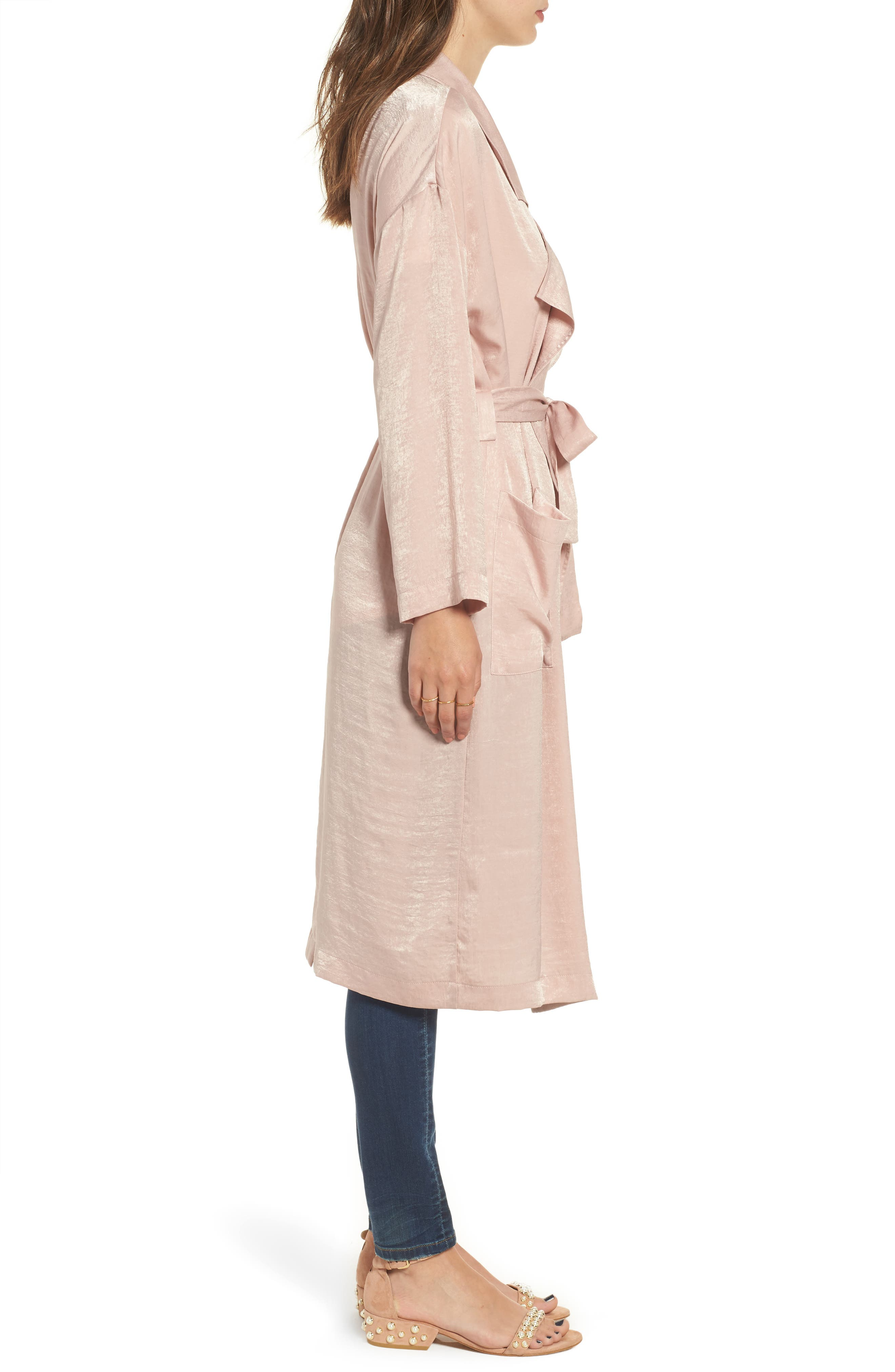 Satin Trench Coat,                             Alternate thumbnail 3, color,                             Pink Adobe