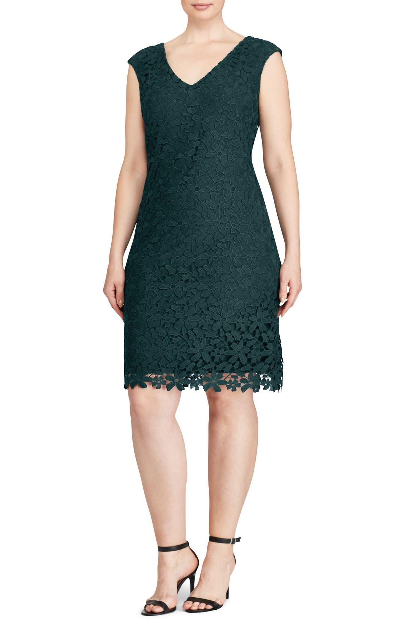 Lauren Ralph Lauren Montie Floral Lace Sheath Dress (Plus Size)
