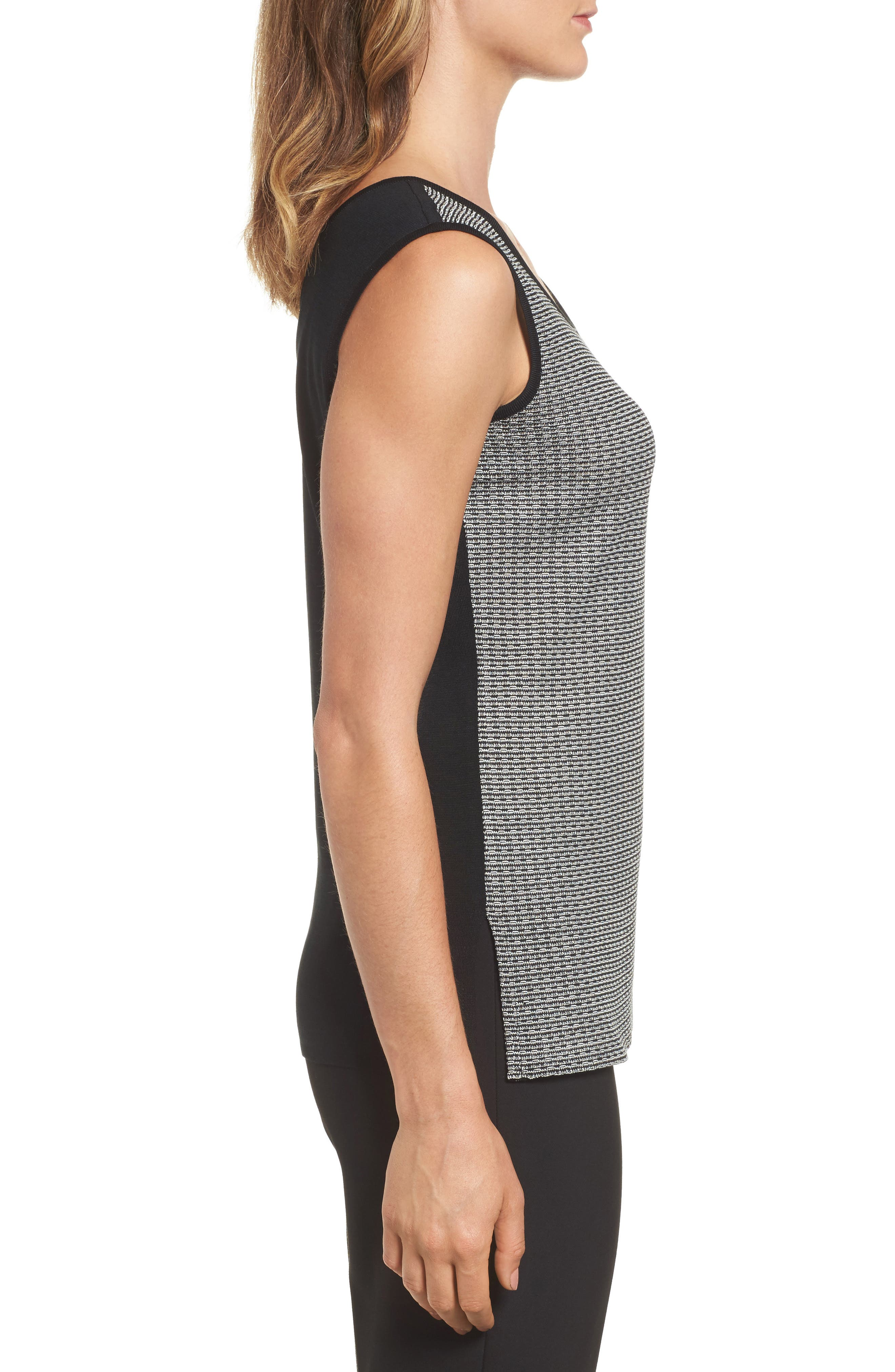 Reversible Scoop Neck Knit Tank,                             Alternate thumbnail 3, color,                             Black/ Ivory