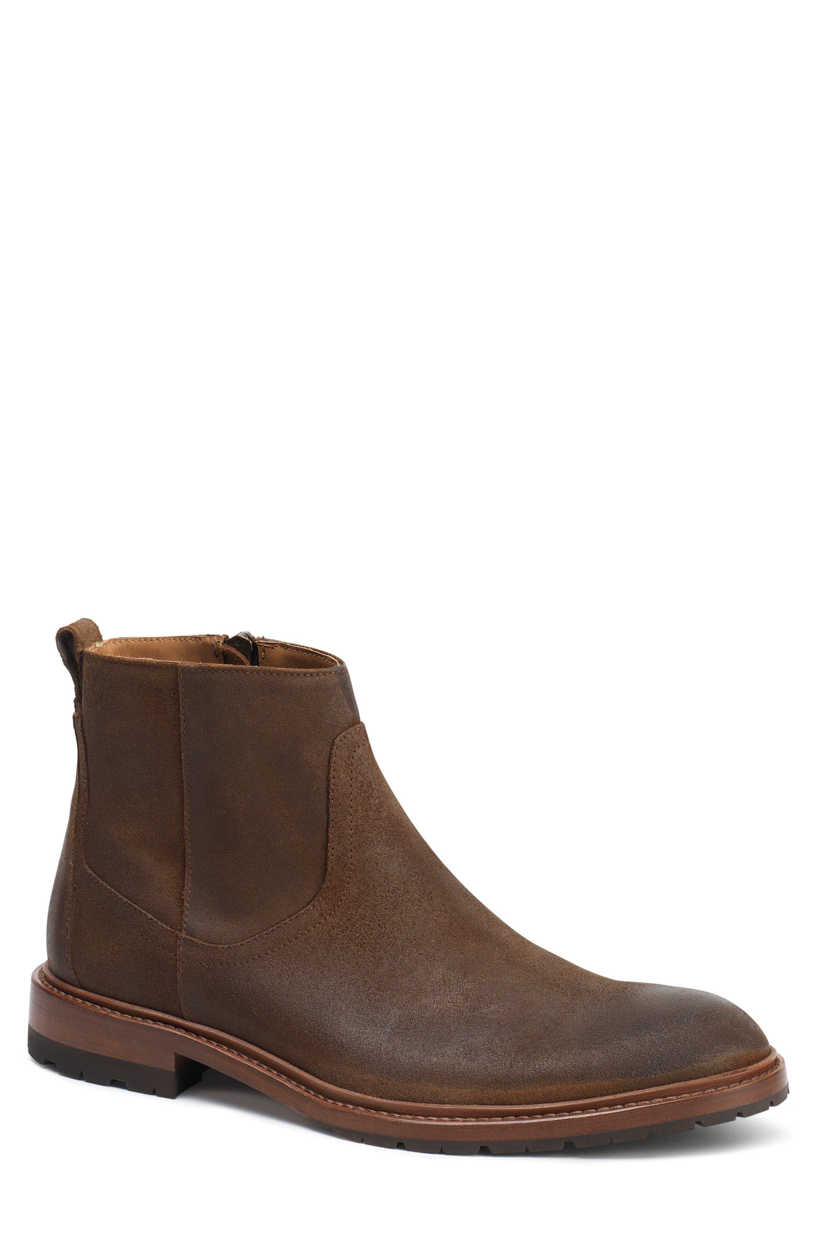 Larkin Zip Boot,                         Main,                         color, Brown Waxed Suede
