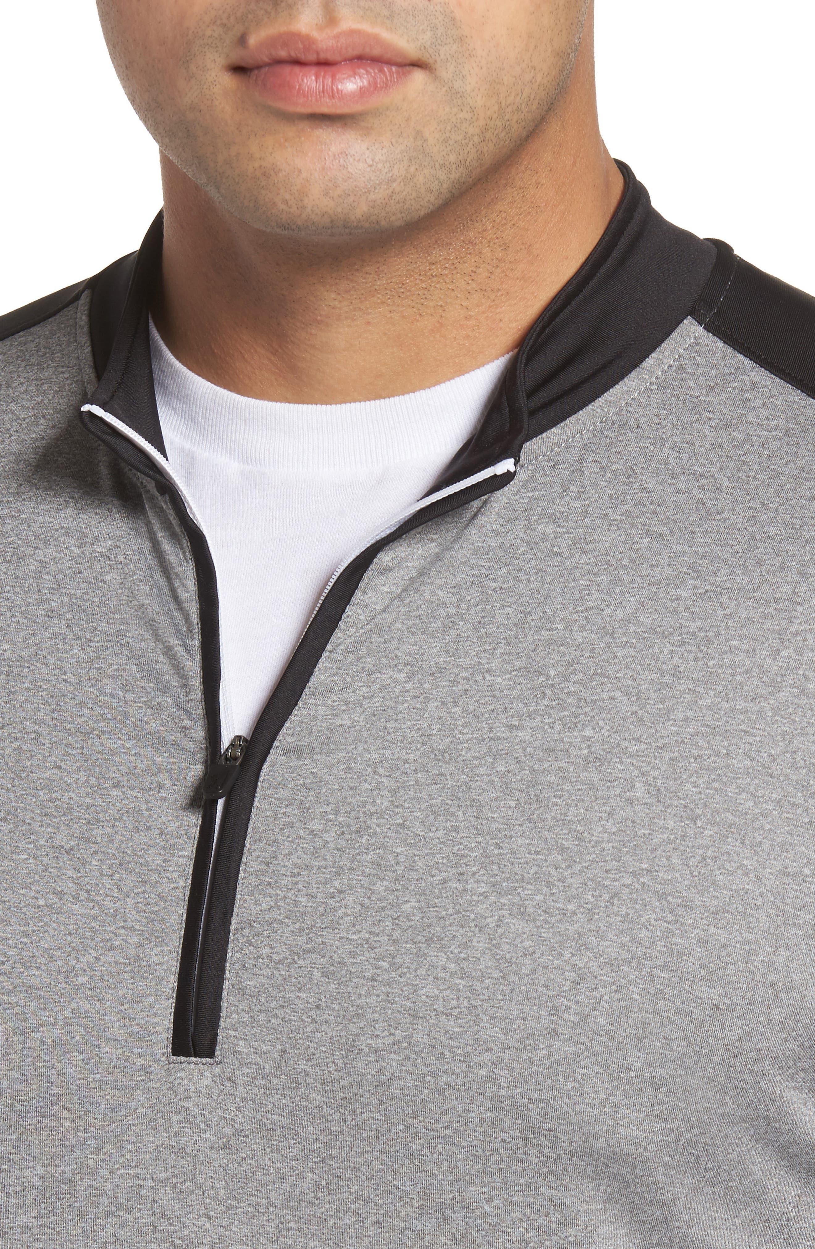 Sway Classic Fit Zip Raglan Pullover,                             Alternate thumbnail 4, color,                             Black