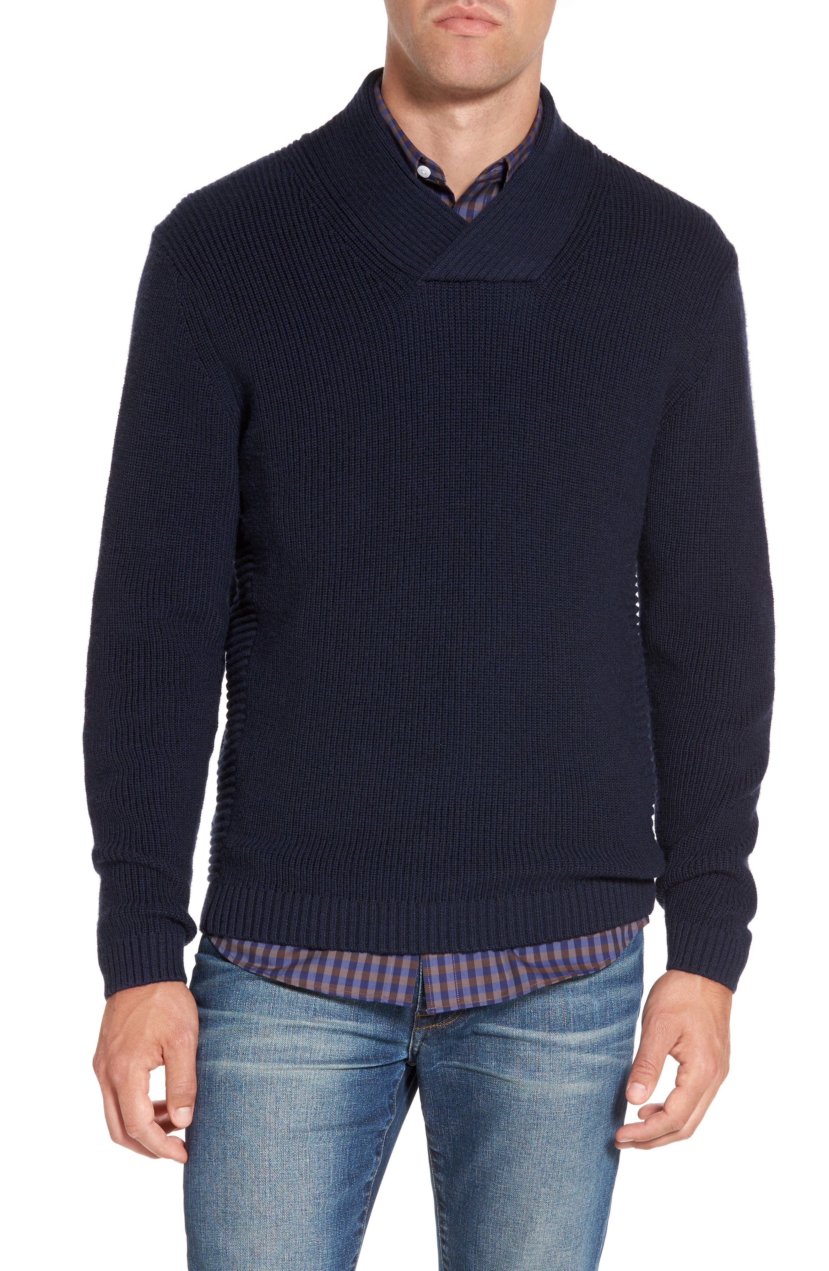 Charlesworth Suede Patch Merino Wool Sweater,                             Main thumbnail 1, color,                             Marine