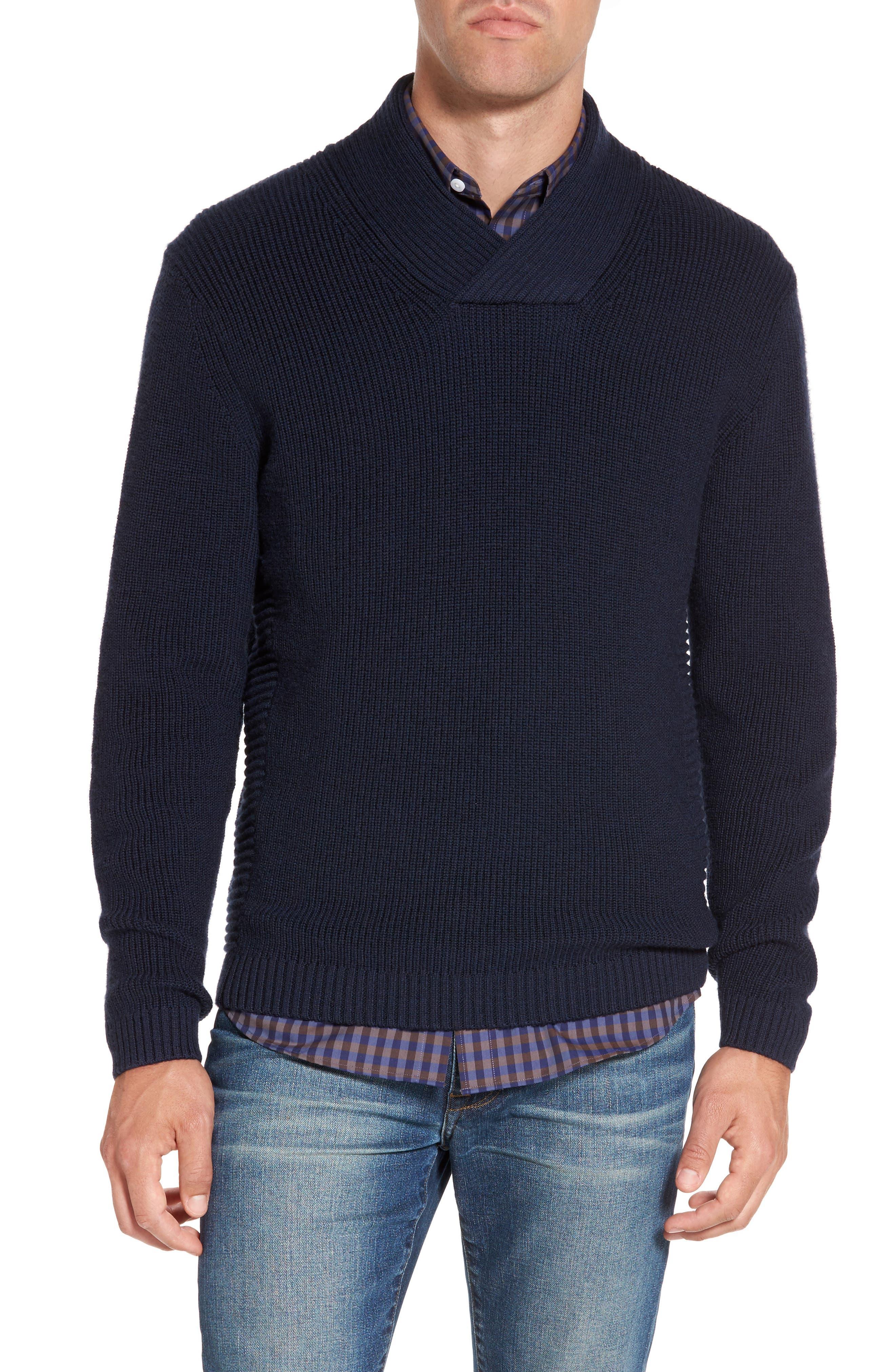Charlesworth Suede Patch Merino Wool Sweater,                         Main,                         color, Marine