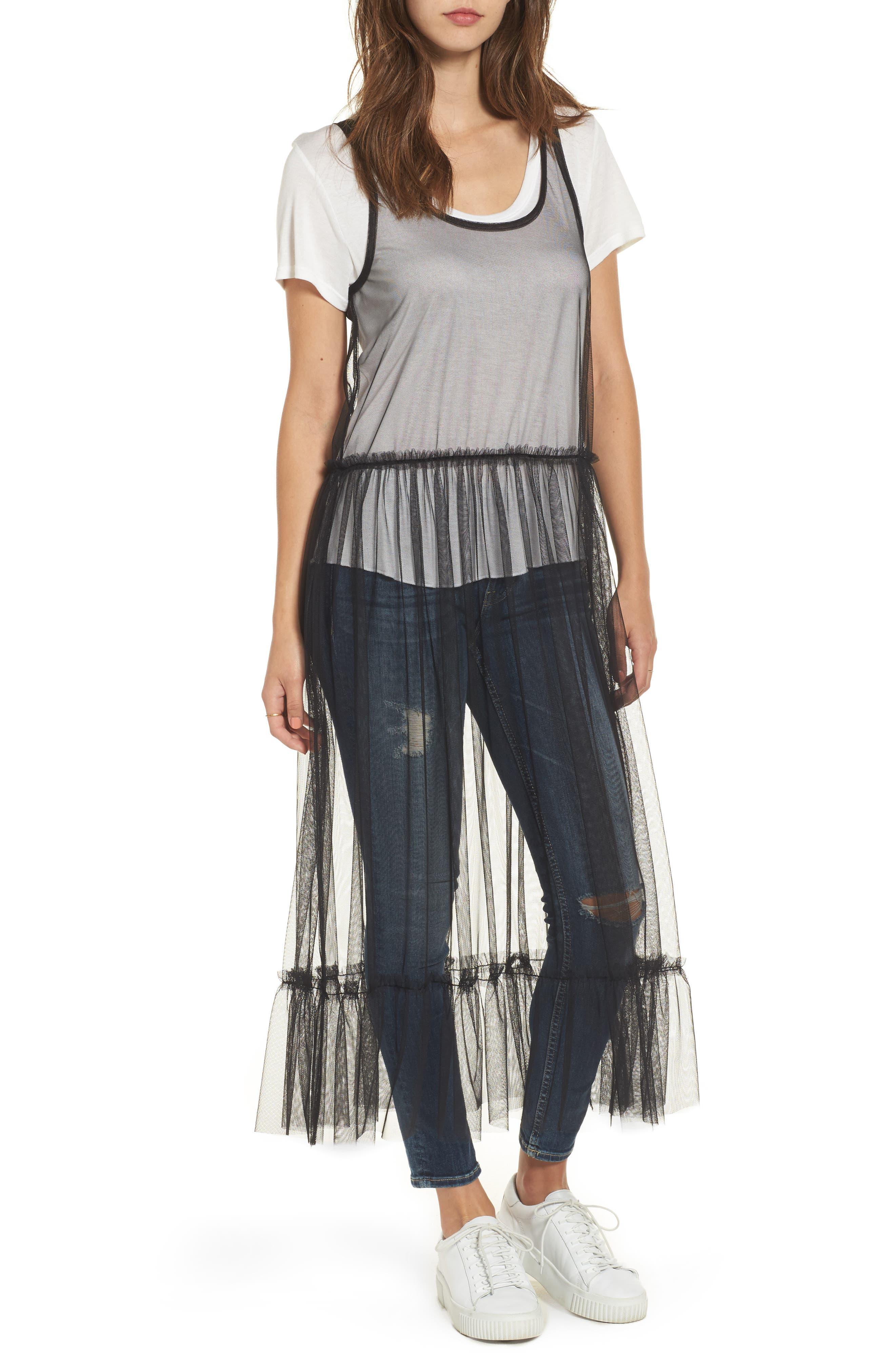 Tulle Drop Waist Midi Dress,                             Main thumbnail 1, color,                             Black