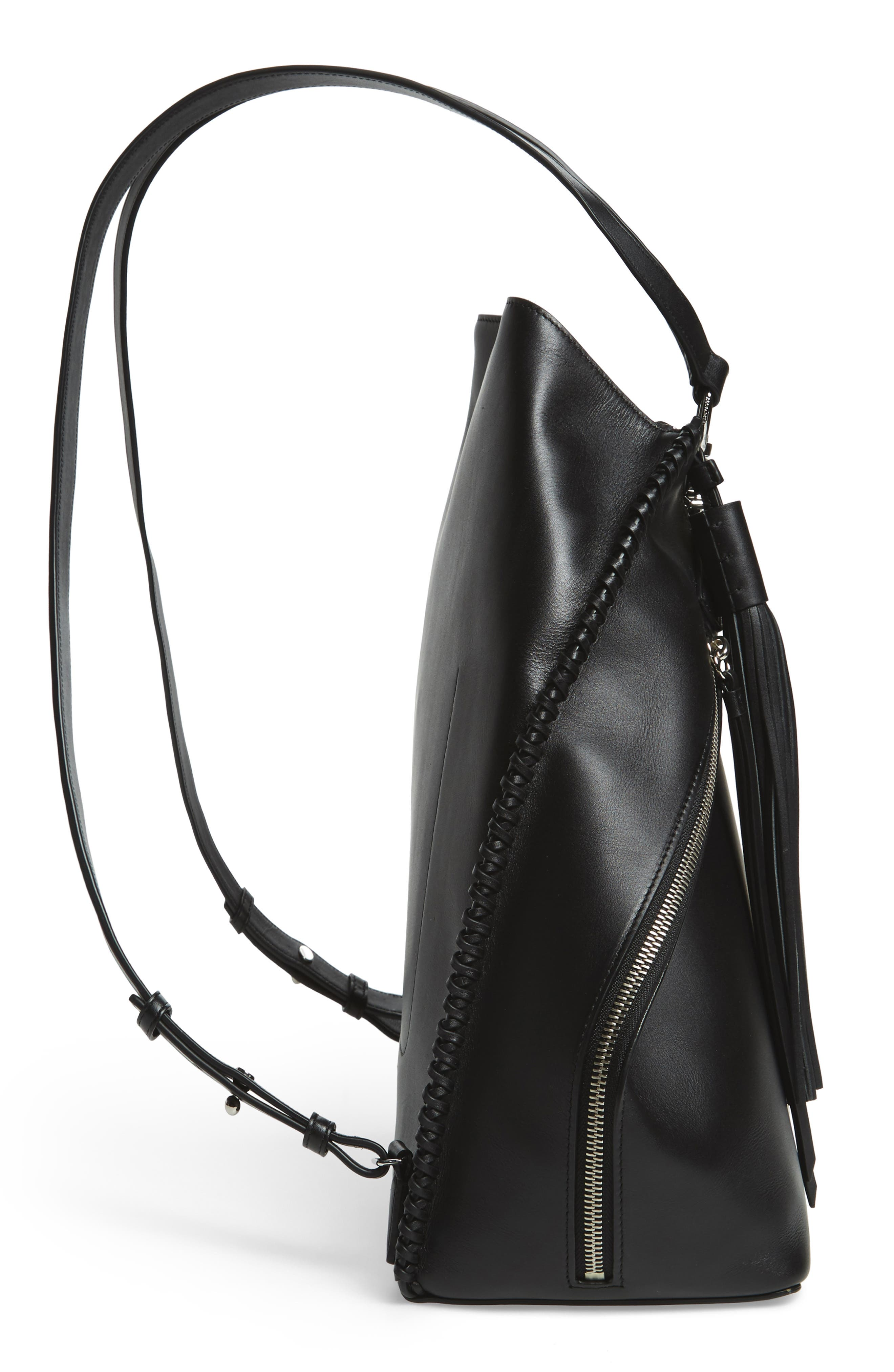 Pearl Convertible Leather Backpack,                             Alternate thumbnail 6, color,                             Black