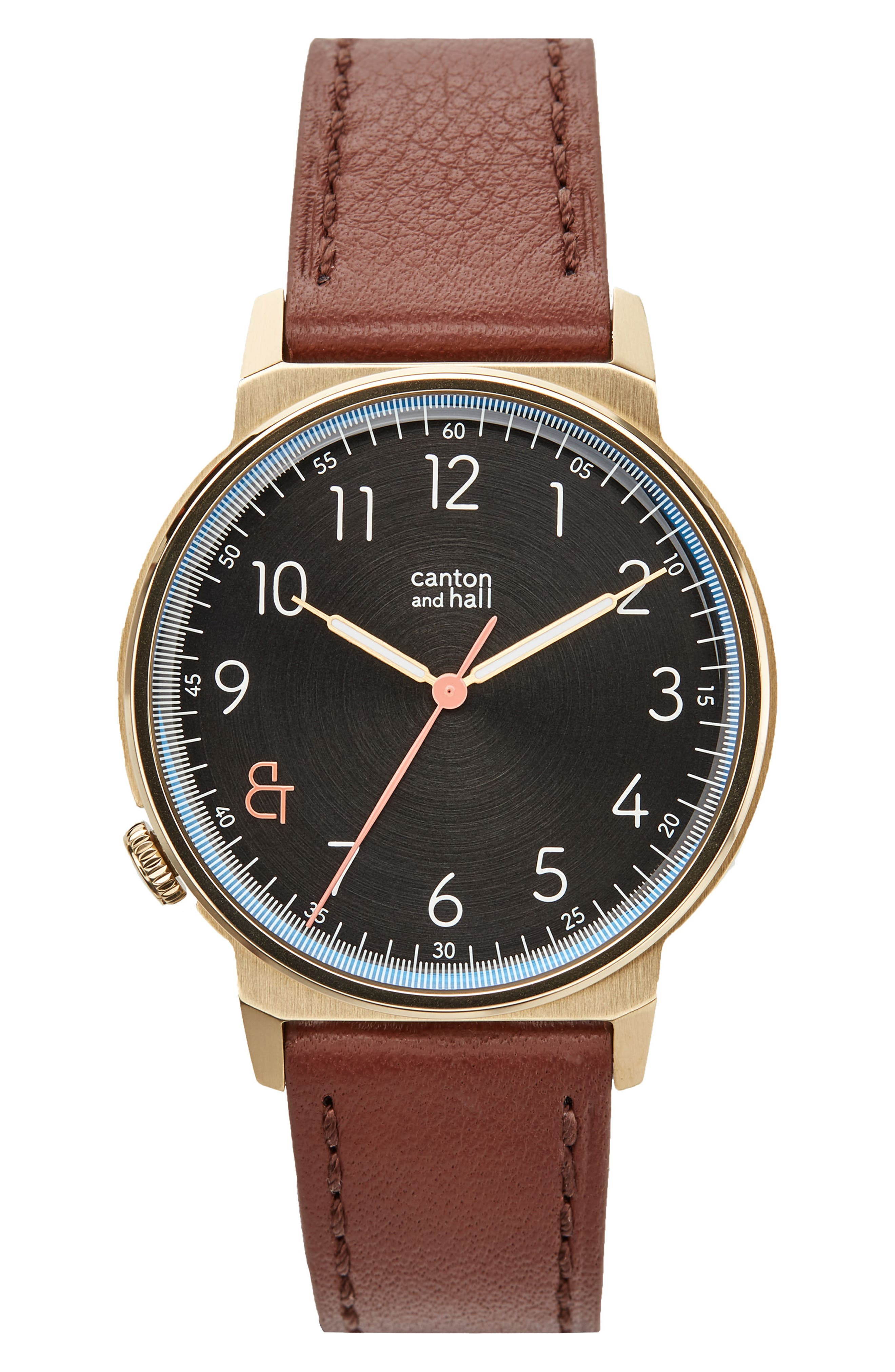 Alternate Image 1 Selected - Canton and Hall Davis Leather Strap Watch, 40mm