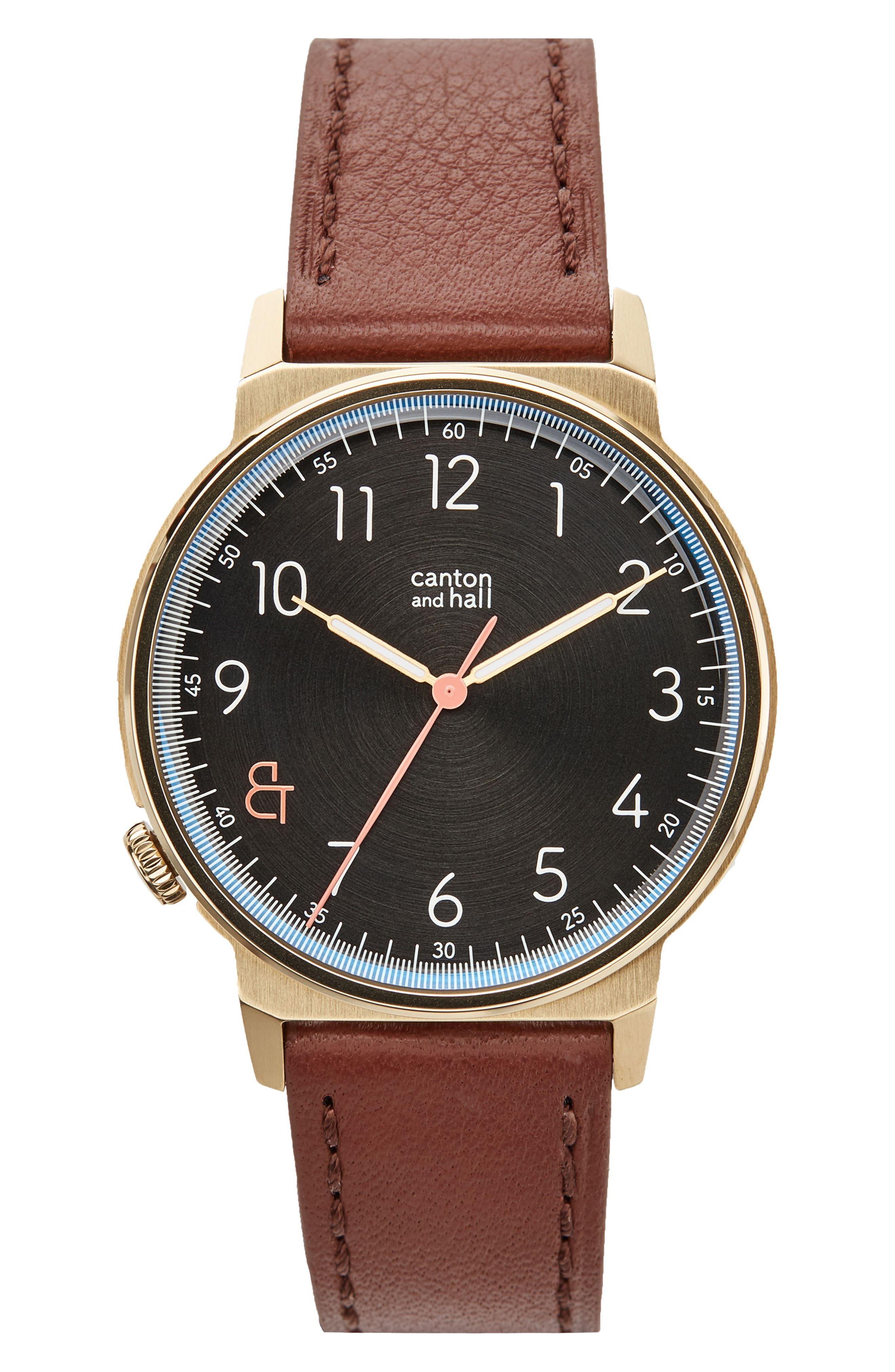 Davis Leather Strap Watch, 40mm,                         Main,                         color, Black/ Brown
