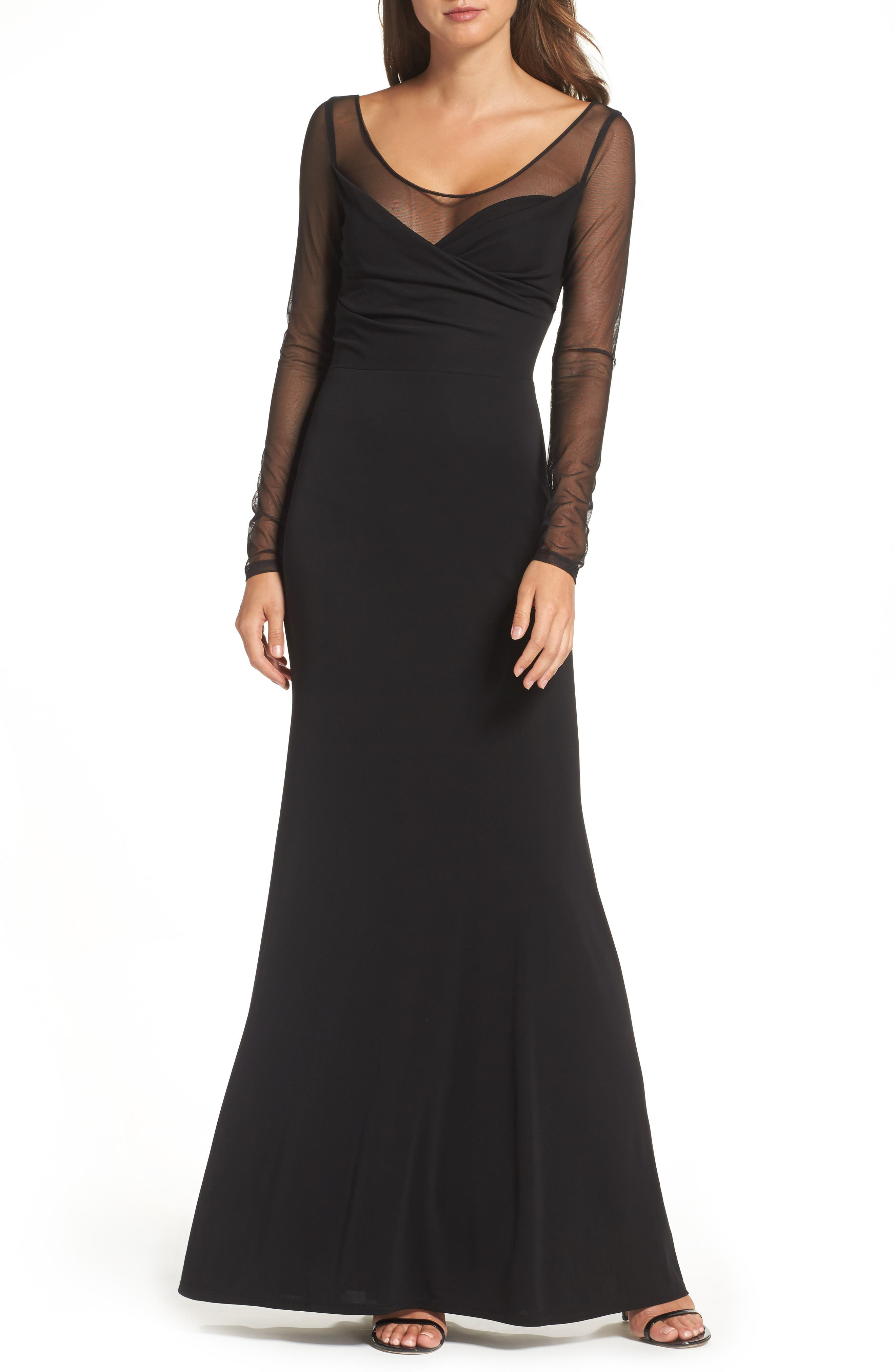 Long Sleeve Gown,                         Main,                         color, Black
